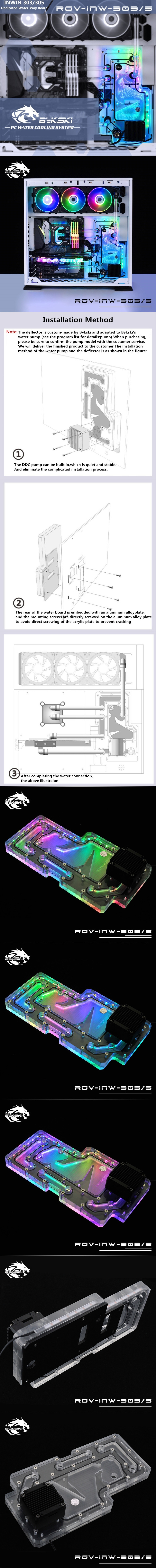 A large marketing image providing additional information about the product Bykski InWin 303 & 305 Case RBW Water Distribution Board - Additional alt info not provided
