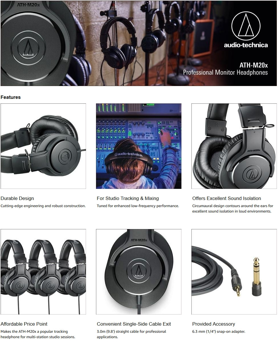 A large marketing image providing additional information about the product Audio Technica ATH-M20x Entry Level Studio Headphones - Additional alt info not provided