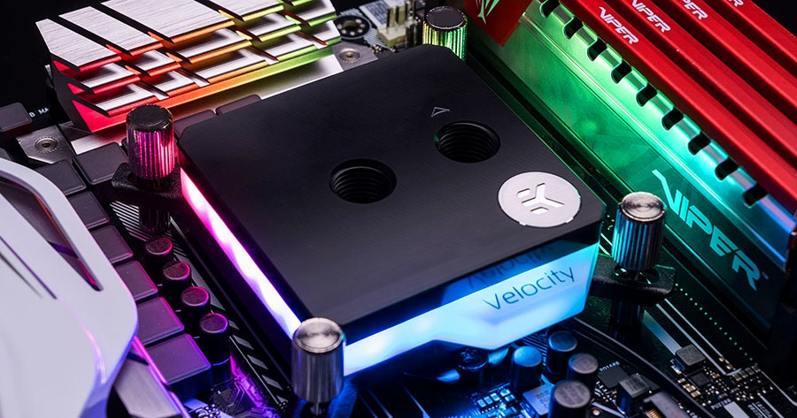 A large marketing image providing additional information about the product EK Velocity Addressable D-RGB Intel Nickel Acetal CPU Waterblock - Additional alt info not provided