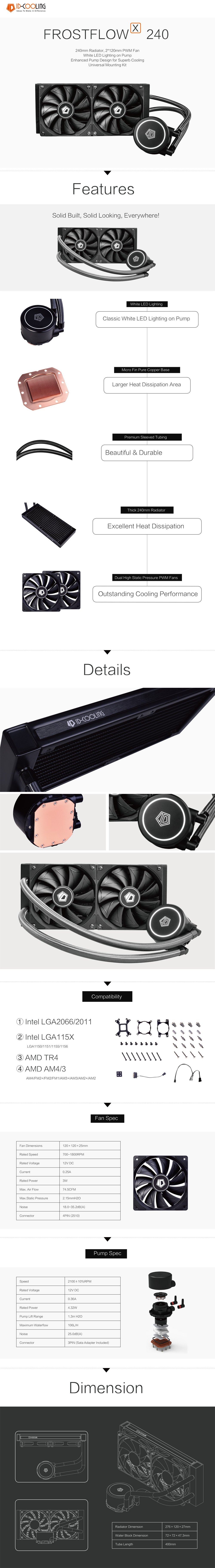 A large marketing image providing additional information about the product ID-COOLING FrostFlow X 240 White LED AIO CPU Liquid Cooler - Additional alt info not provided