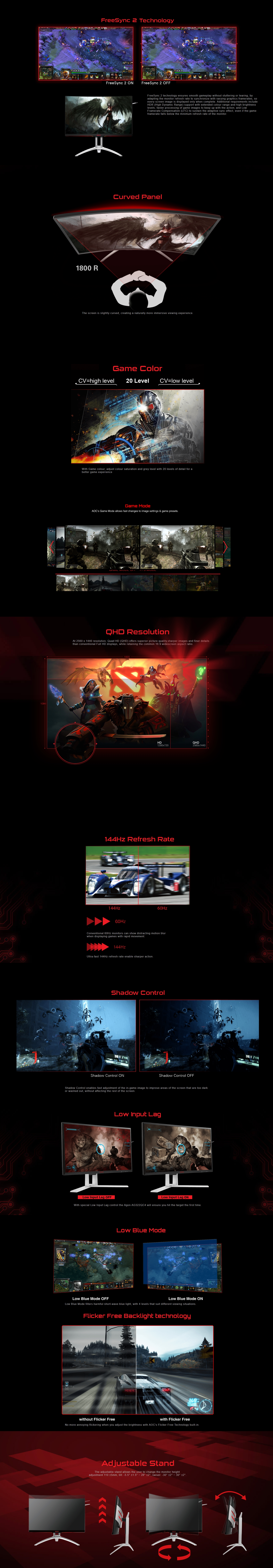 """A large marketing image providing additional information about the product AOC AGON AG322QC4 31.5"""" WQHD FreeSync 2 Curved 144Hz 4MS VA LED Gaming Monitor - Additional alt info not provided"""