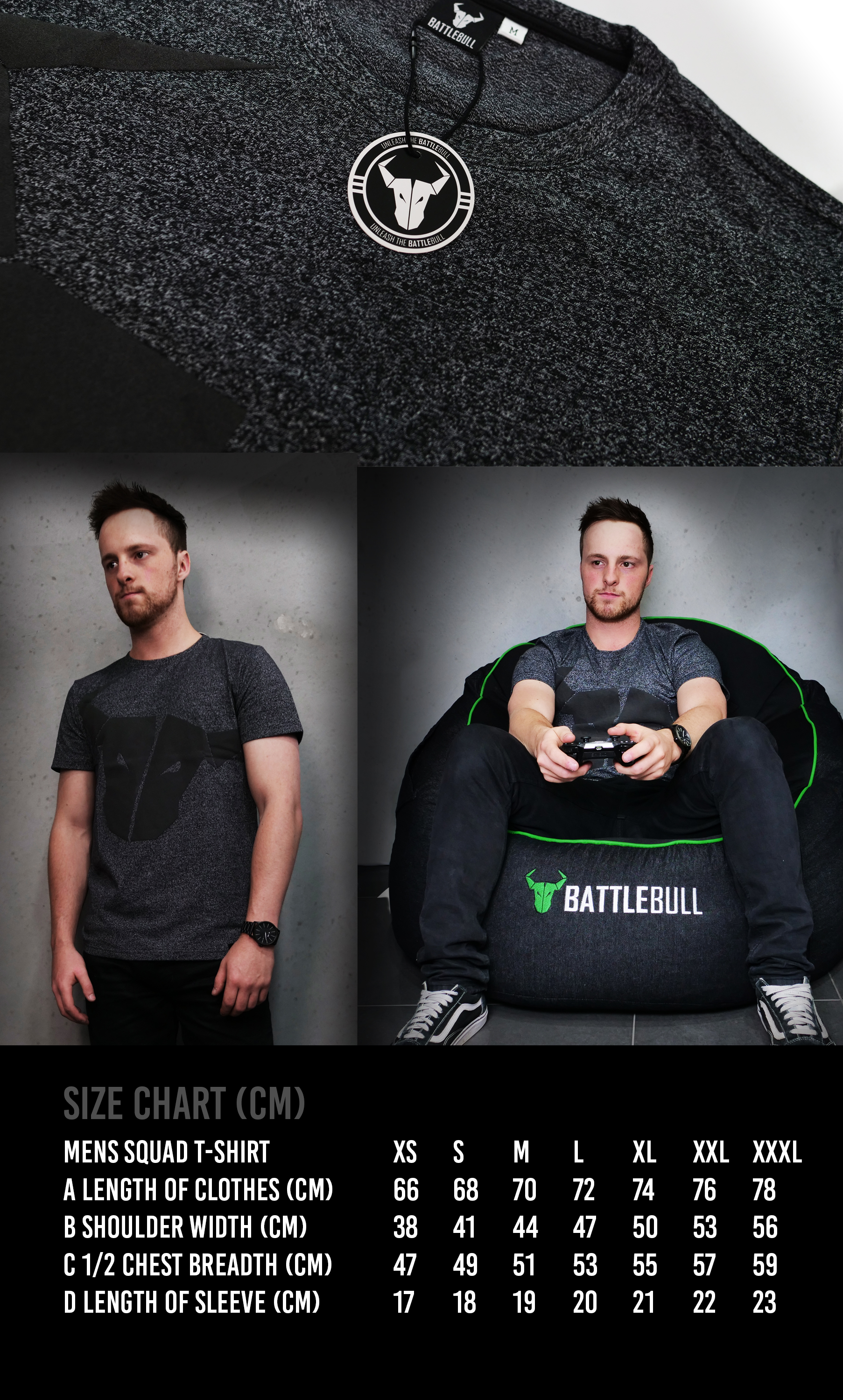 A large marketing image providing additional information about the product BattleBull Squad T-Shirt Black/Black - Size Extra Extra Extra Large (XXXL) - Additional alt info not provided