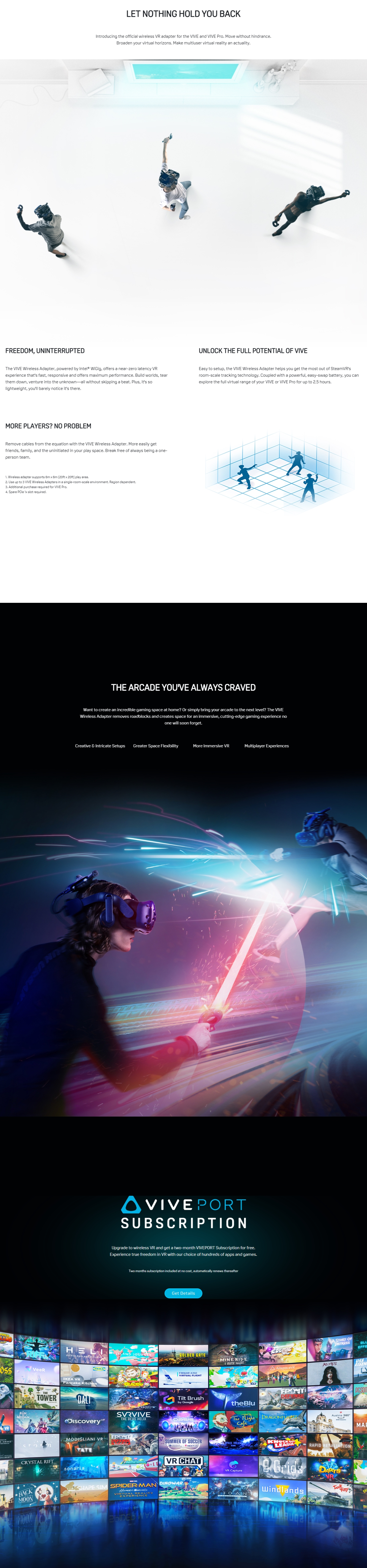 A large marketing image providing additional information about the product HTC VIVE Wireless Adapter Rev.1 - Additional alt info not provided