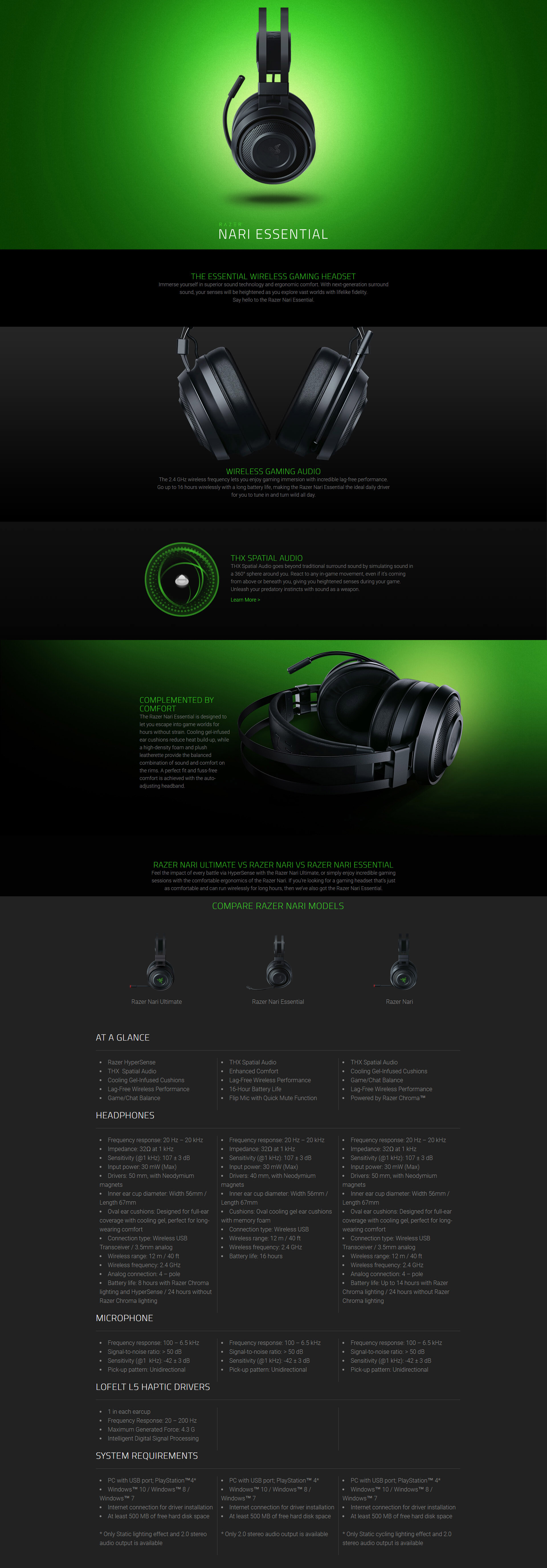A large marketing image providing additional information about the product Razer Nari Essential Wireless Gaming Headset - Additional alt info not provided