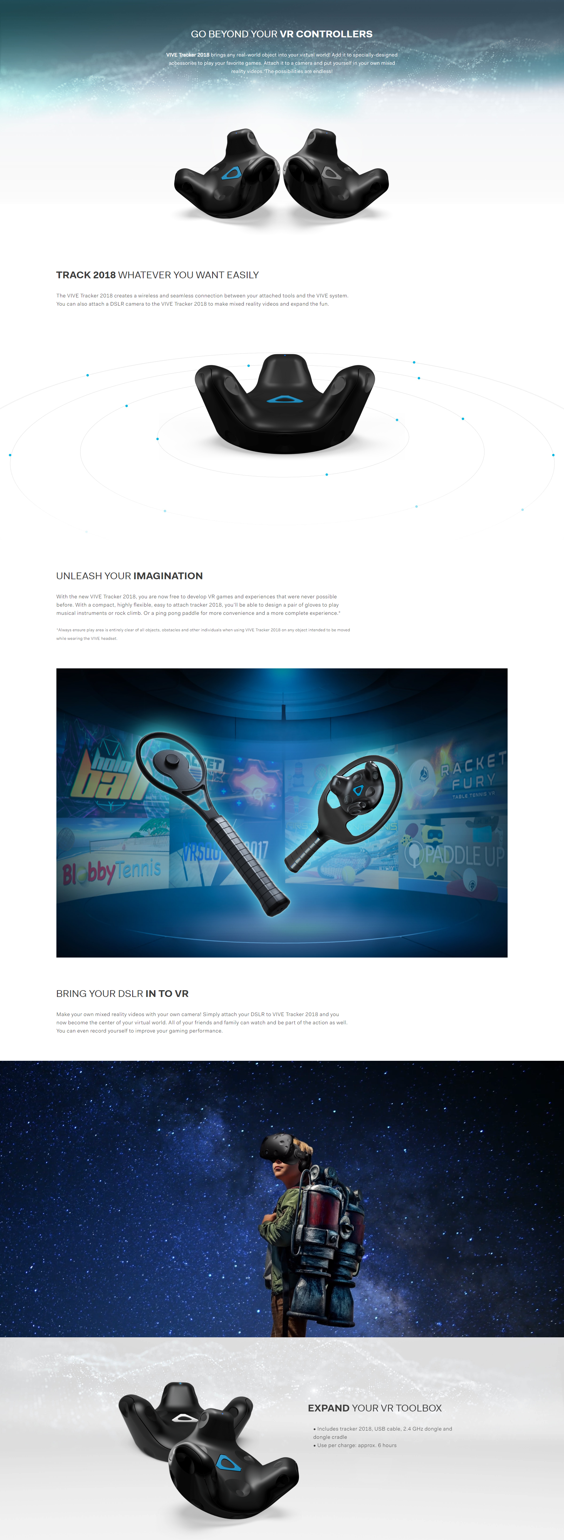 A large marketing image providing additional information about the product HTC VIVE Tracker 2018 - Additional alt info not provided