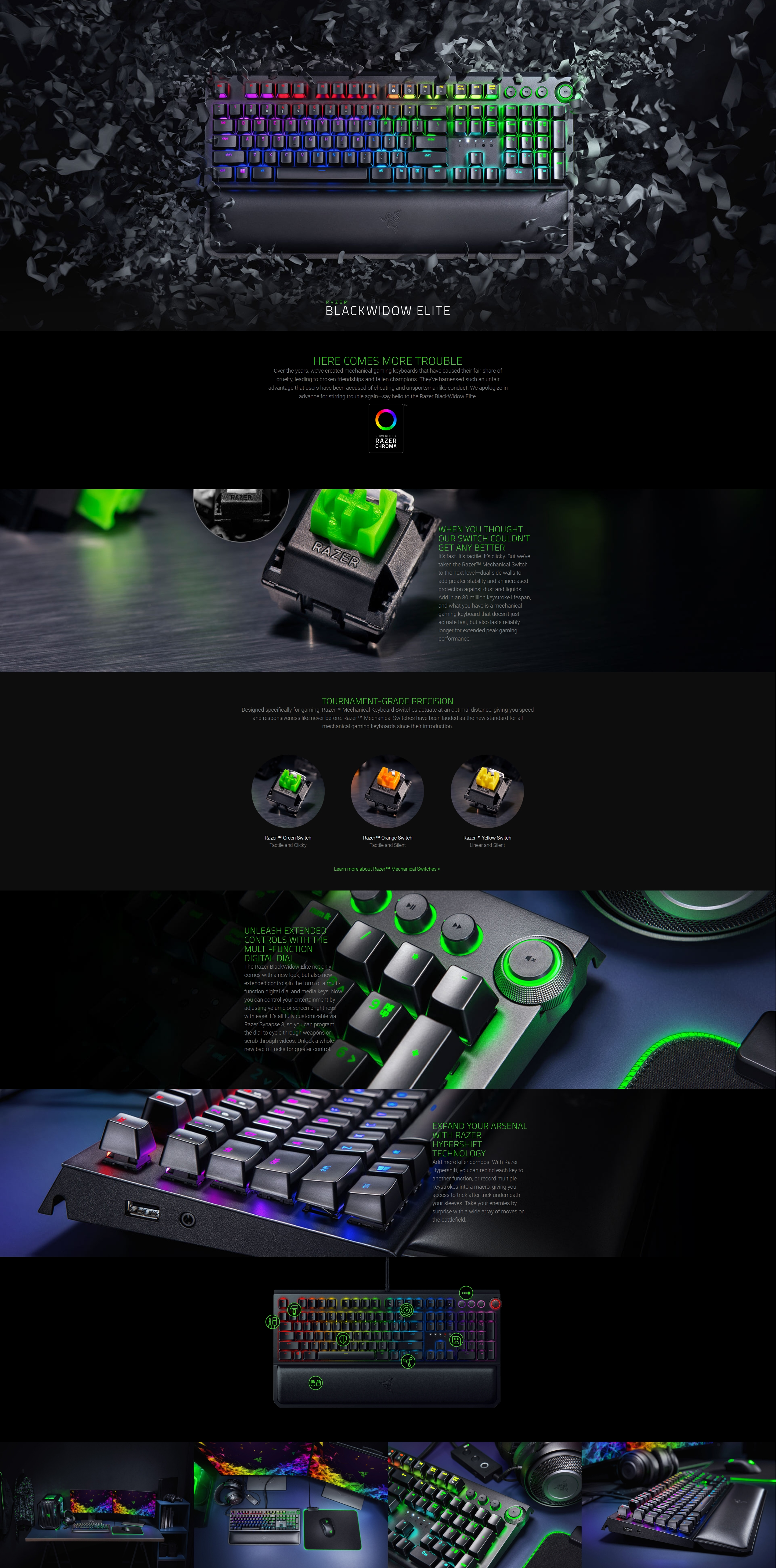 A large marketing image providing additional information about the product Razer Blackwidow Elite Mechanical Gaming Keyboard (Yellow Switch) - Additional alt info not provided