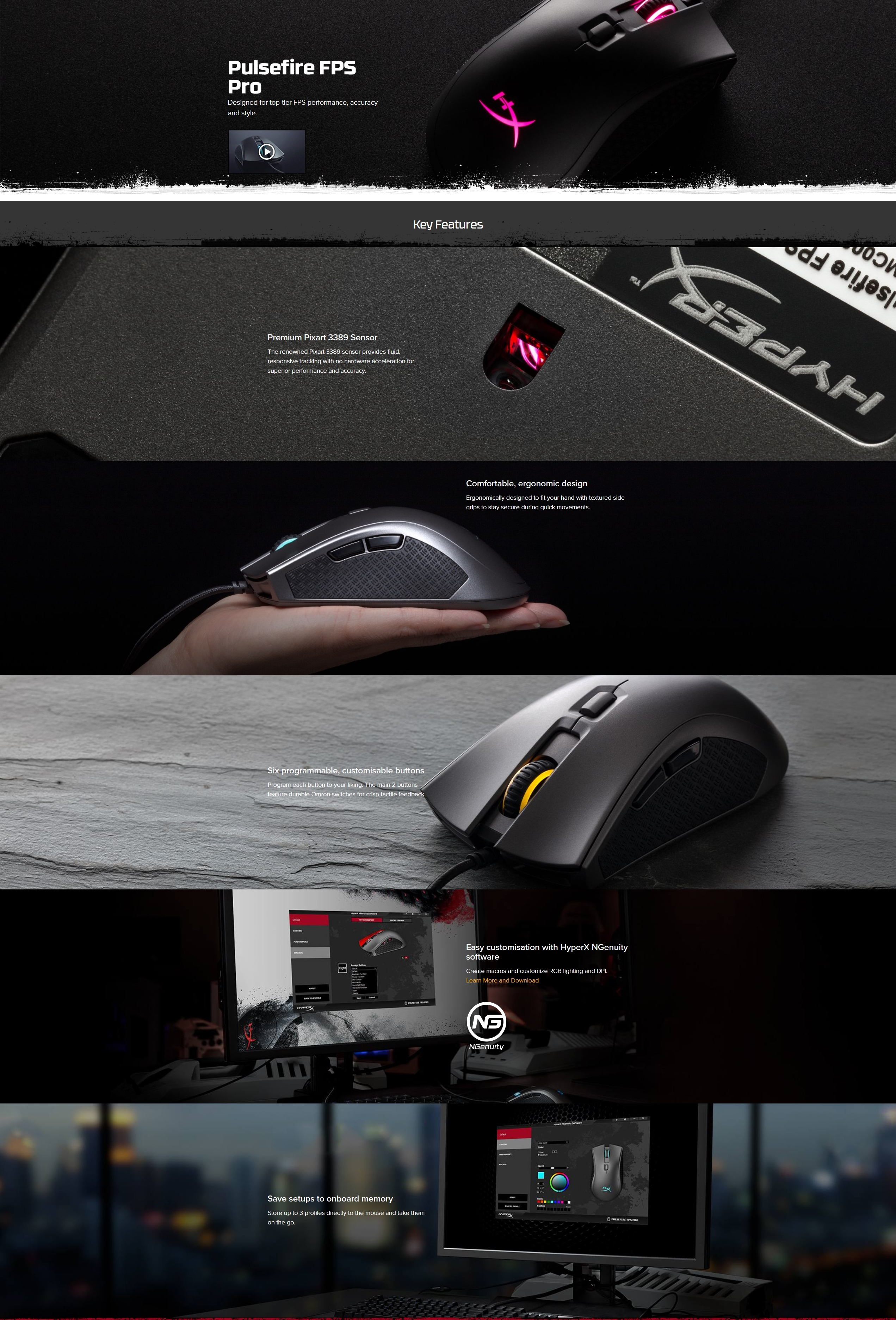 A large marketing image providing additional information about the product Kingston HyperX Pulsefire FPS Pro RGB Gaming Mouse - Additional alt info not provided