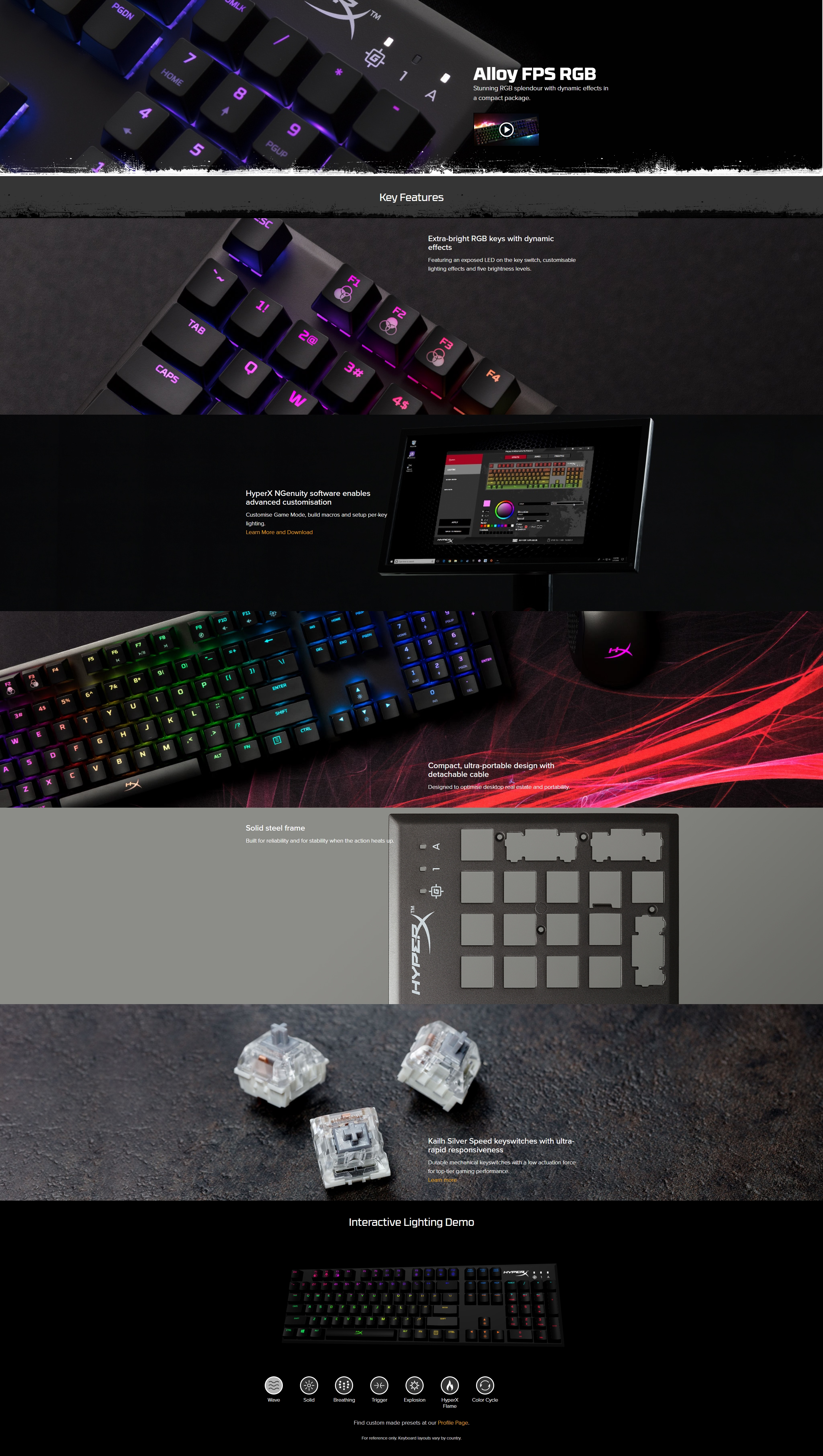A large marketing image providing additional information about the product Kingston HyperX Alloy FPS RGB Mechanical Gaming Keyboard (Kailh Speed Switch)  - Additional alt info not provided