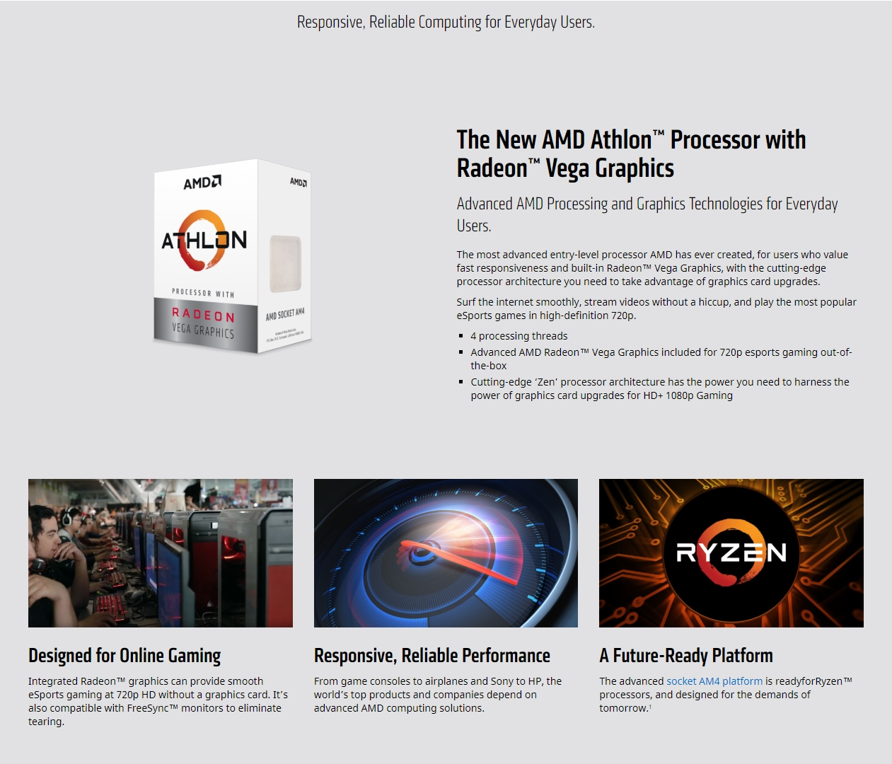 A large marketing image providing additional information about the product AMD Athlon 200GE 3.2GHz 2 Core 4 Thread AM4 Retail Box - With Fan - Additional alt info not provided