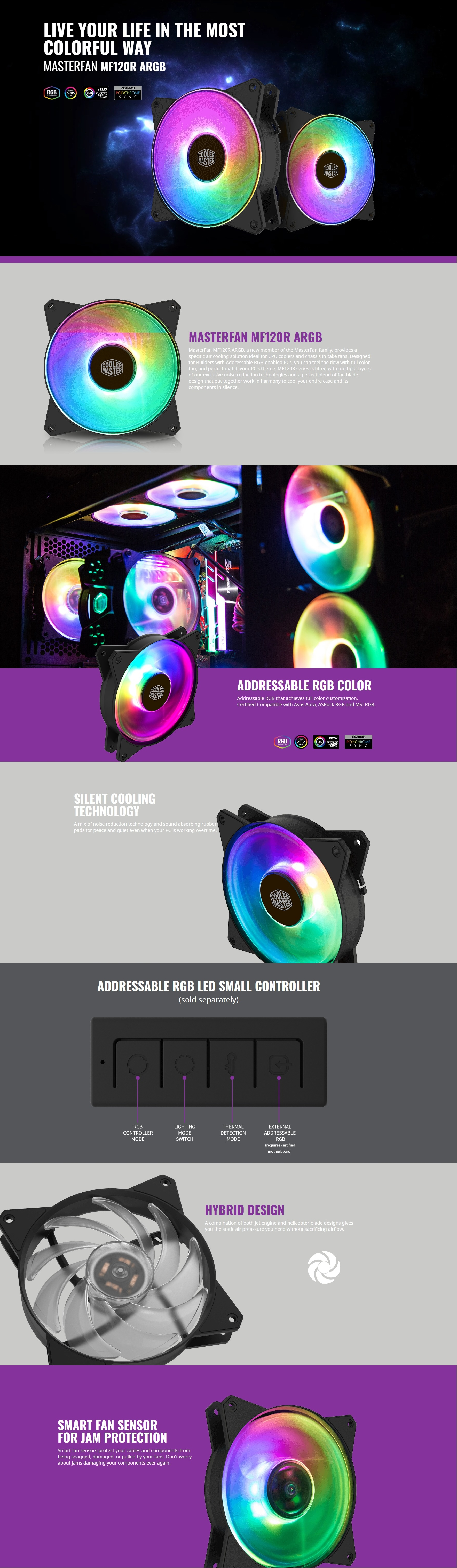 A large marketing image providing additional information about the product Cooler Master MasterFan MF120R ARGB 120mm Fan - Additional alt info not provided