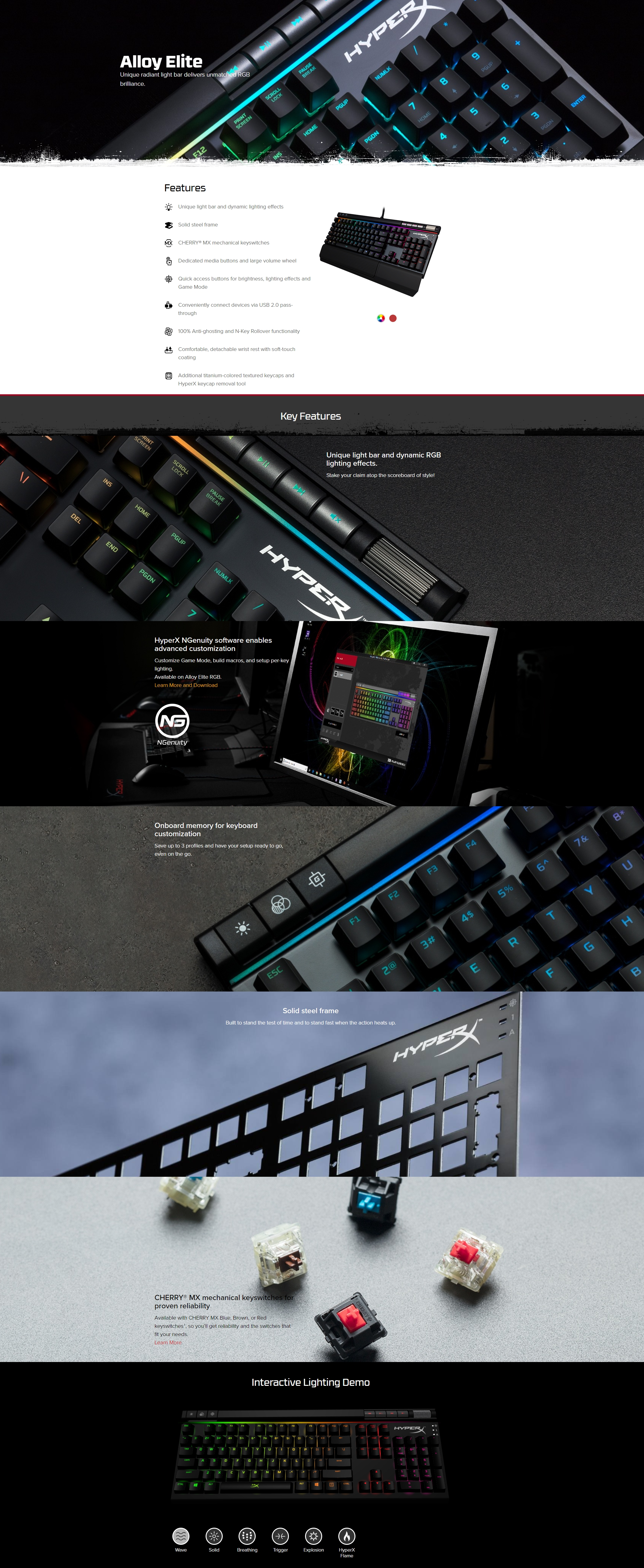 A large marketing image providing additional information about the product Kingston HyperX Alloy Elite RGB Mechanical Gaming Keyboard (MX Red) - Additional alt info not provided