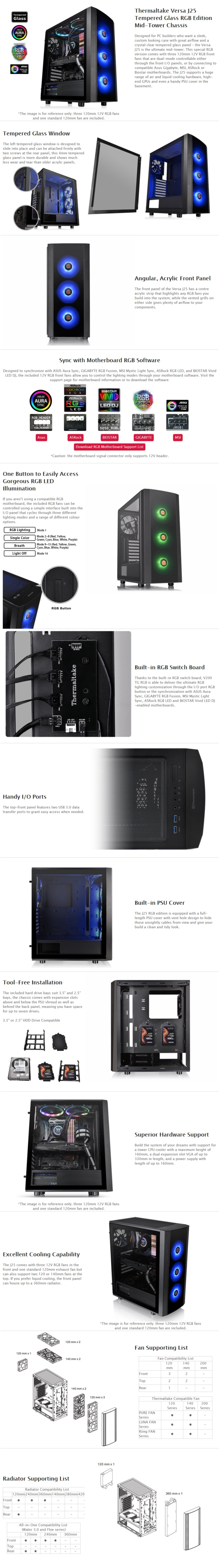 A large marketing image providing additional information about the product Thermaltake Versa J25 Tempered Glass RGB Mid Tower - Additional alt info not provided