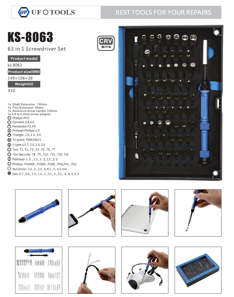 A large marketing image providing additional information about the product King'sdun 63 in 1 Screwdriver Tool Set for PC & Mobile - Additional alt info not provided