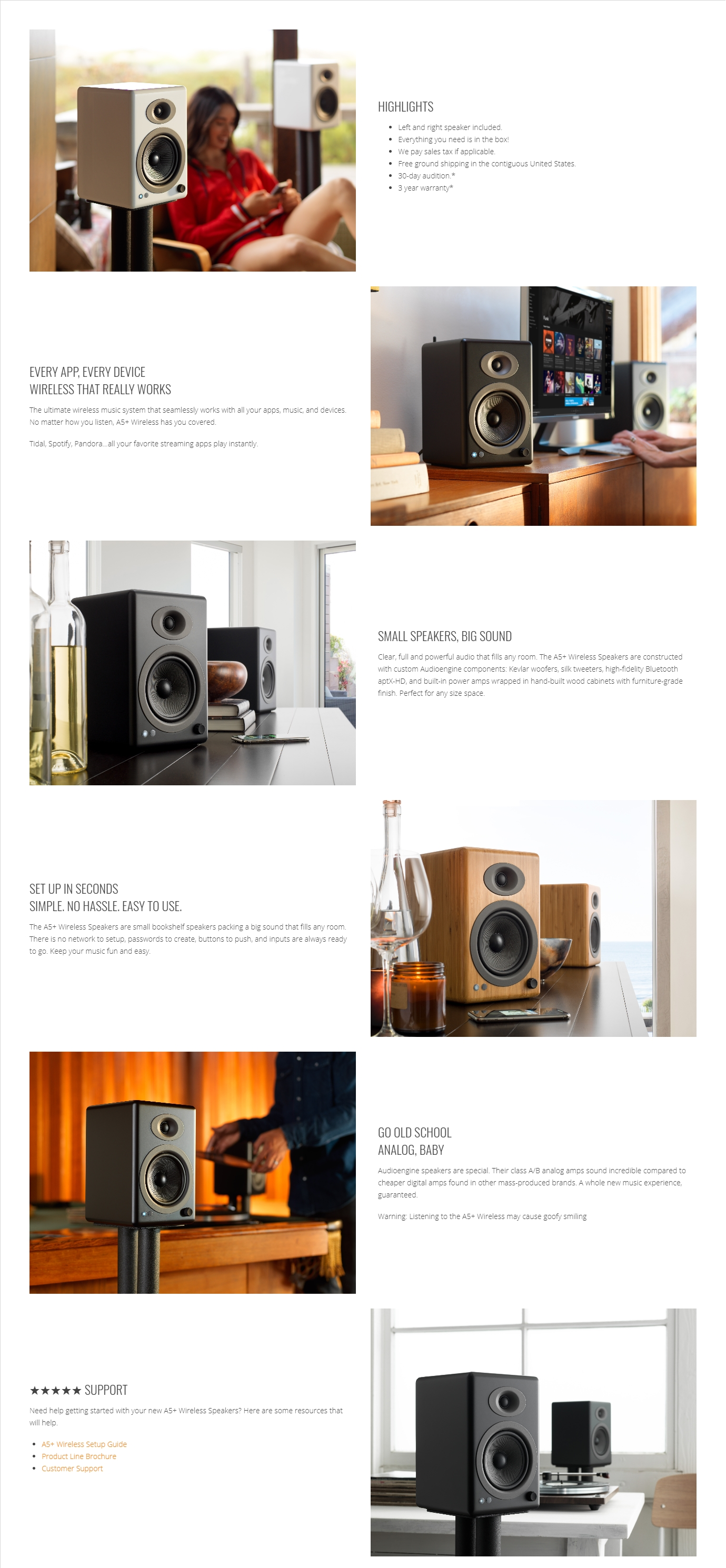 A large marketing image providing additional information about the product Audioengine 5+ Wireless Bookshelf Desktop Speakers - Black  - Additional alt info not provided