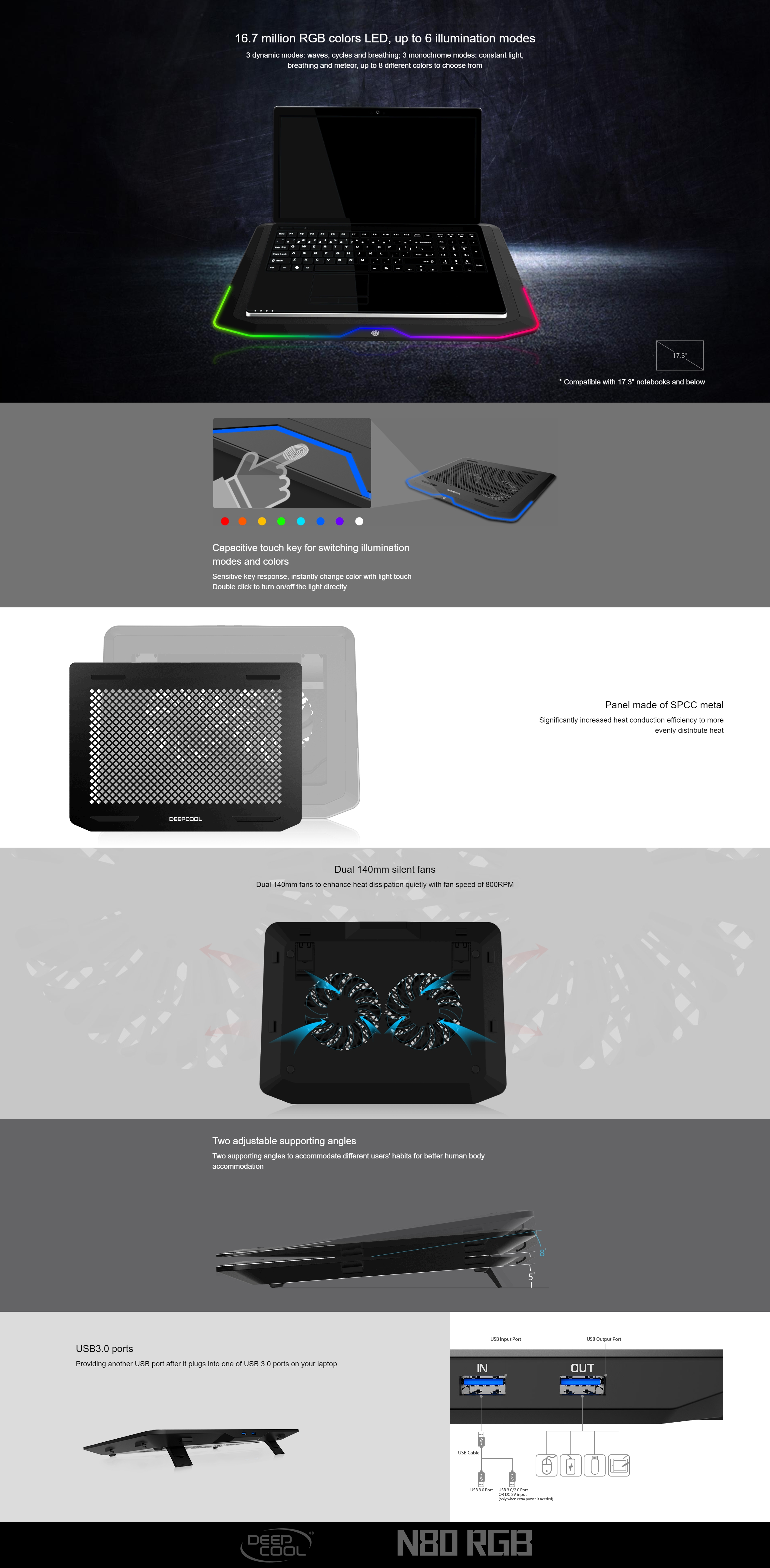 A large marketing image providing additional information about the product Deepcool N80 RGB Laptop Cooling Pad  - Additional alt info not provided
