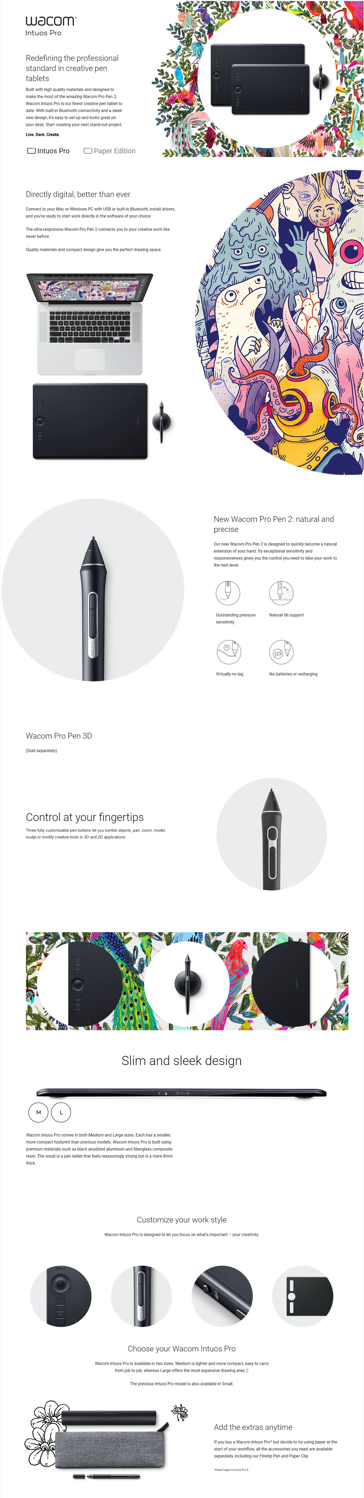A large marketing image providing additional information about the product Wacom Intuos Pro Medium Drawing Tablet w/ Pro Pen 2 & Paper - Additional alt info not provided
