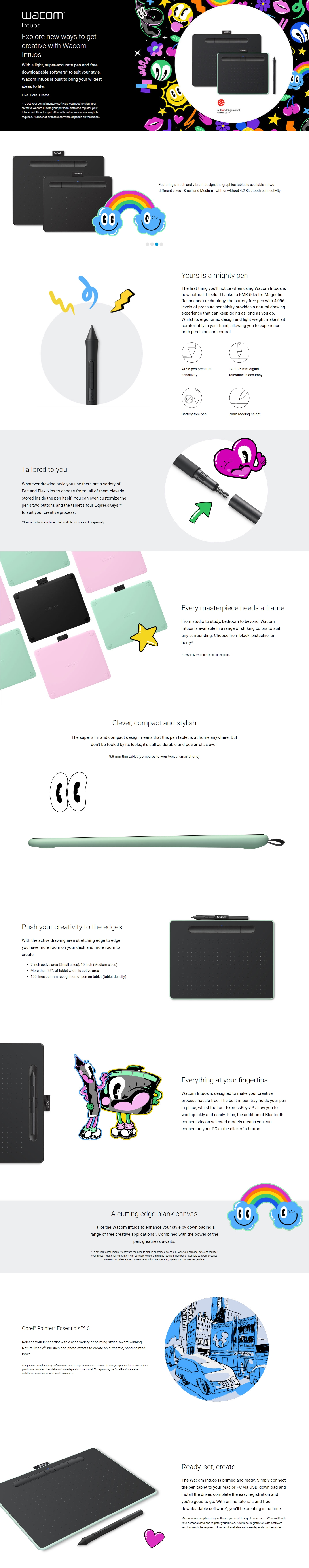 A large marketing image providing additional information about the product Wacom Intuos Medium Bluetooth Drawing Pad - Pistachio - Additional alt info not provided