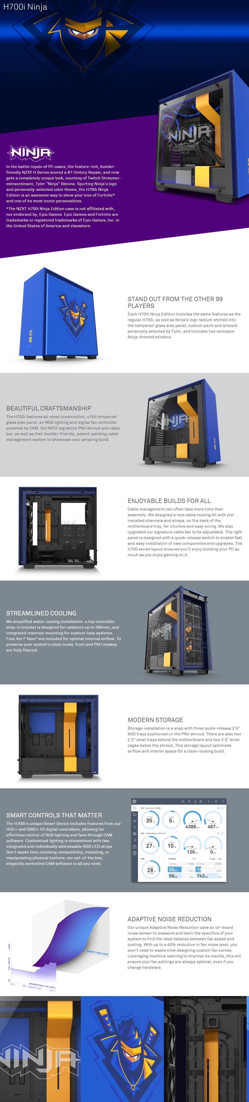 A large marketing image providing additional information about the product NZXT H700i Ninja Special Edition Mid Tower Case  - Additional alt info not provided