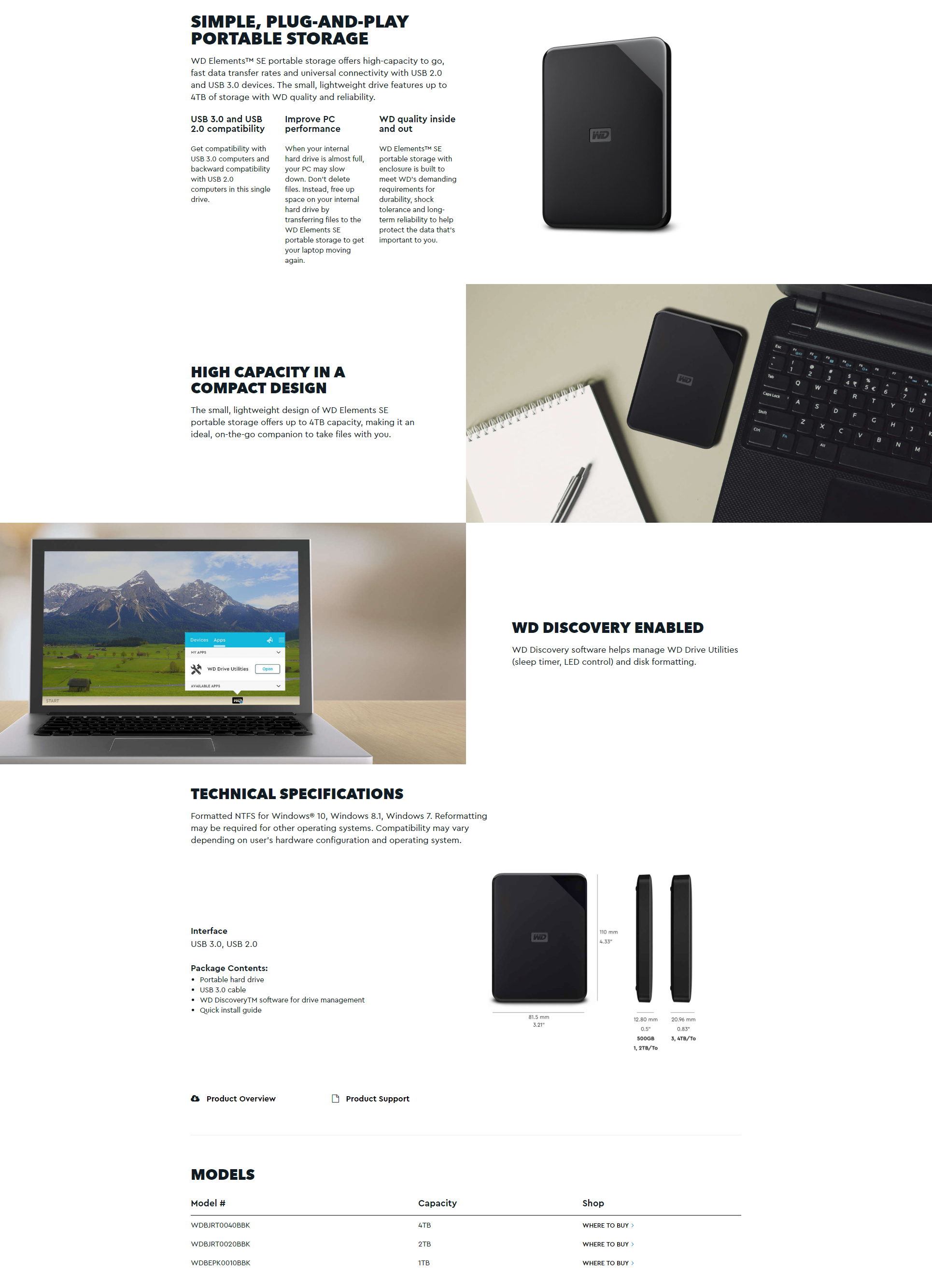 "A large marketing image providing additional information about the product WD Elements SE 1TB USB3.0 2.5"" Black Portable HDD - Additional alt info not provided"