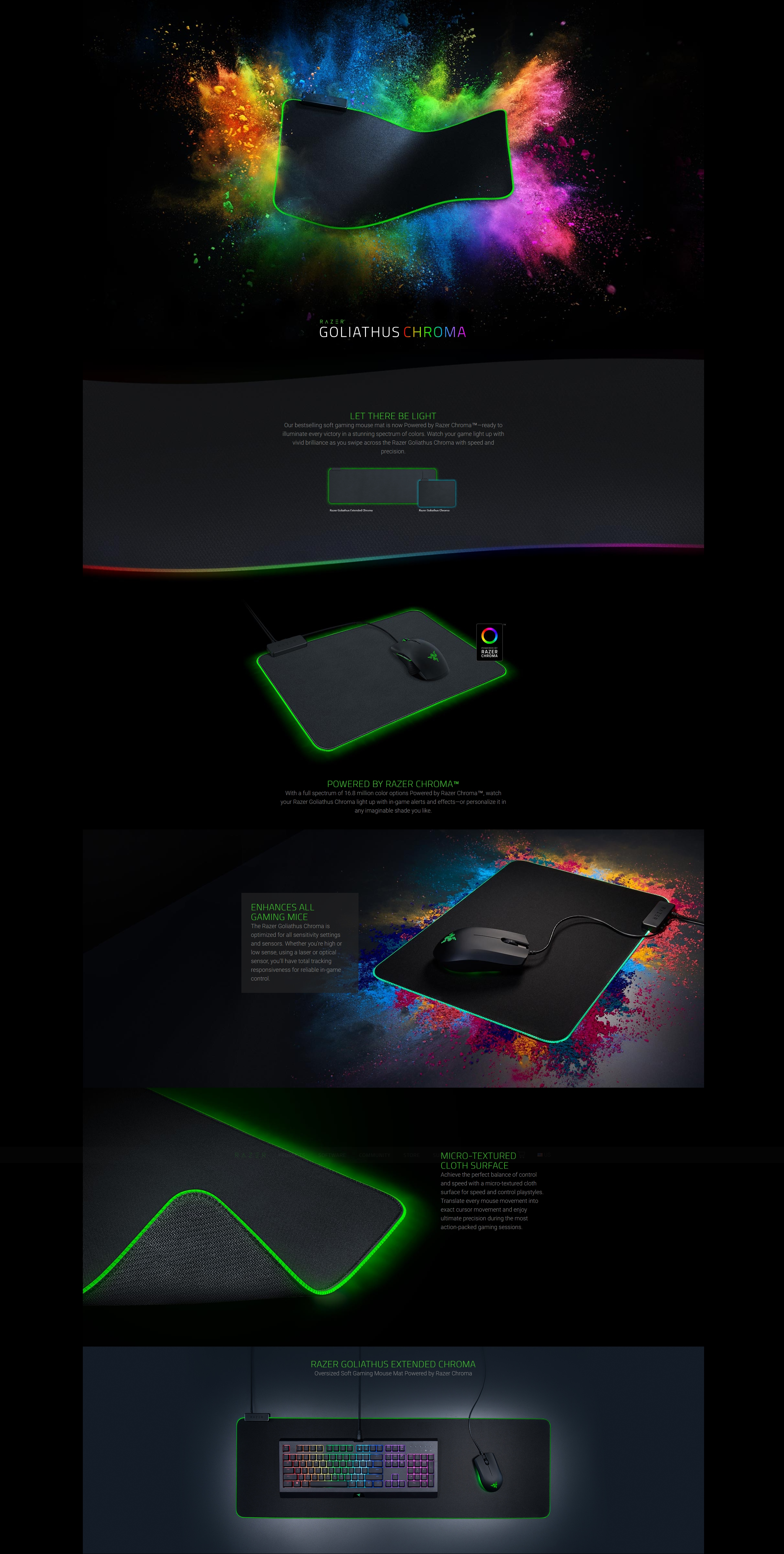 A large marketing image providing additional information about the product Razer Goliathus Chroma Mousemat Extended - Additional alt info not provided