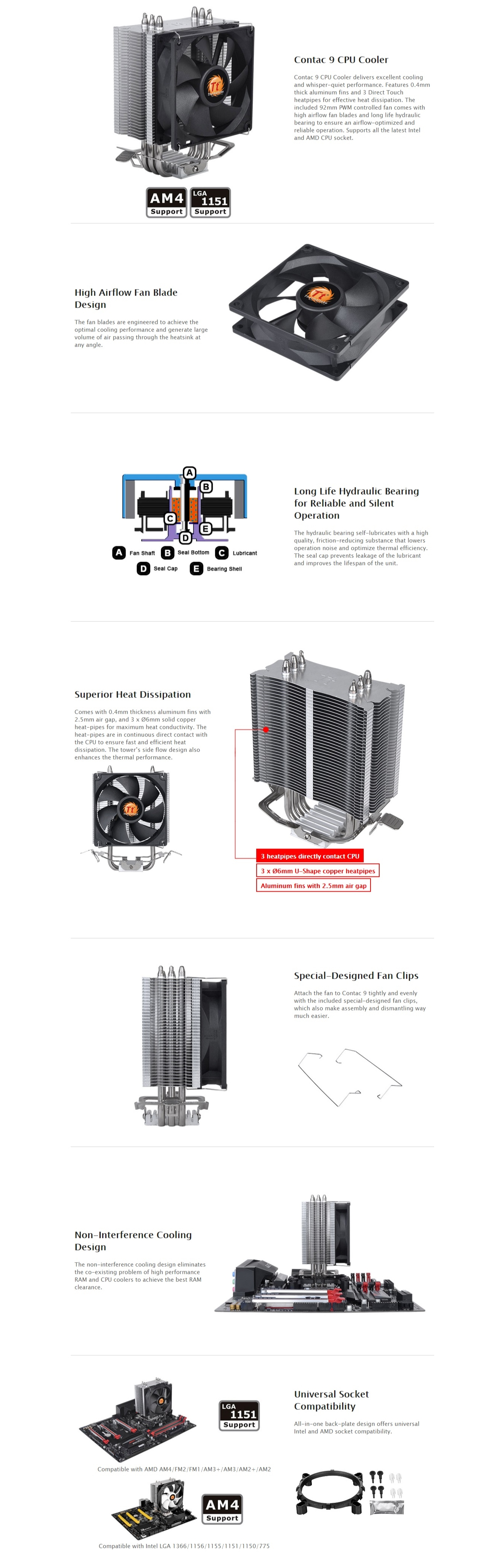 A large marketing image providing additional information about the product Thermaltake Contac 9 CPU Cooler  - Additional alt info not provided