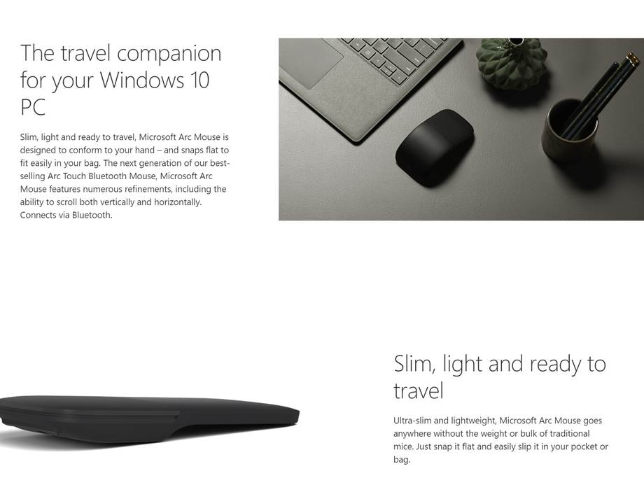 A large marketing image providing additional information about the product Microsoft Arc Touch Wireless Mouse - Additional alt info not provided