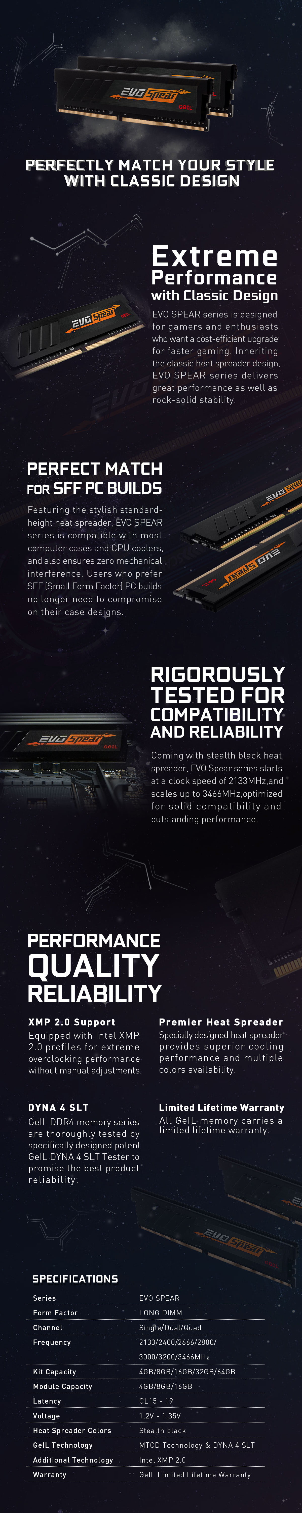 A large marketing image providing additional information about the product GeIL 16GB Kit (2x8GB) DDR4 EVO SPEAR C16 2400MHz - Additional alt info not provided