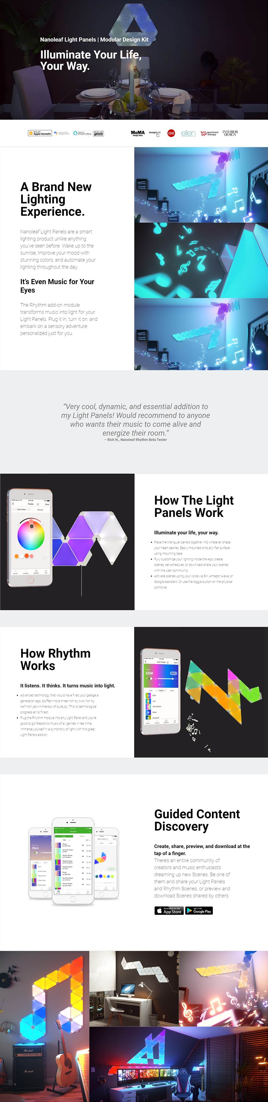 A large marketing image providing additional information about the product Nanoleaf Rhythm Module Add-On - Additional alt info not provided