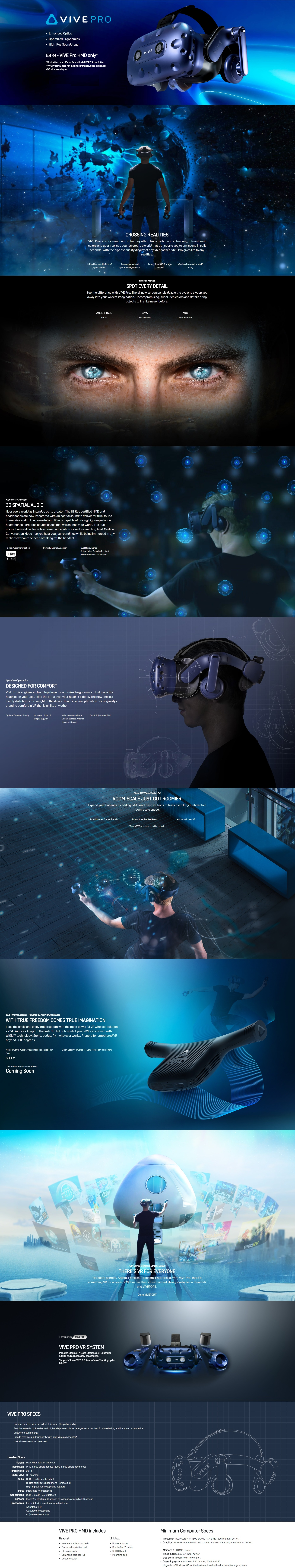 A large marketing image providing additional information about the product HTC VIVE Pro VR Headset Kit - Additional alt info not provided