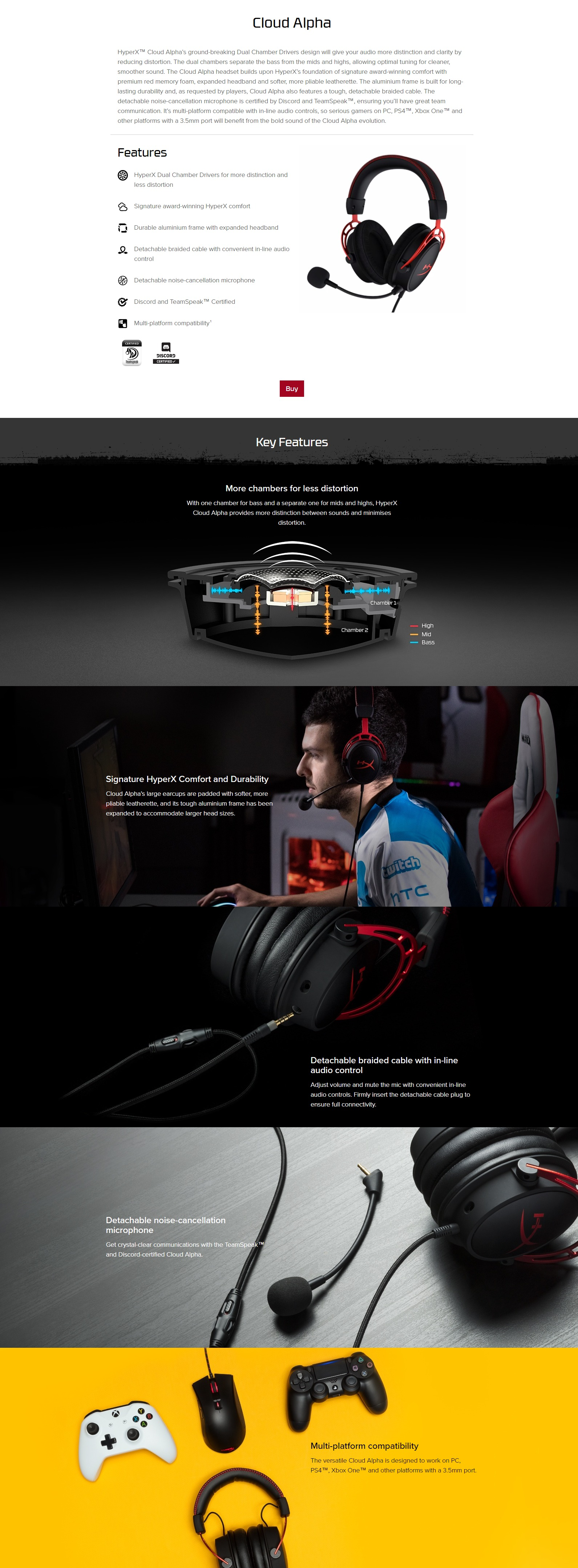 A large marketing image providing additional information about the product Kingston HyperX Cloud Alpha Pro Gaming Headset for PC, PS4 & Xbox One, Nintendo Switch - Additional alt info not provided