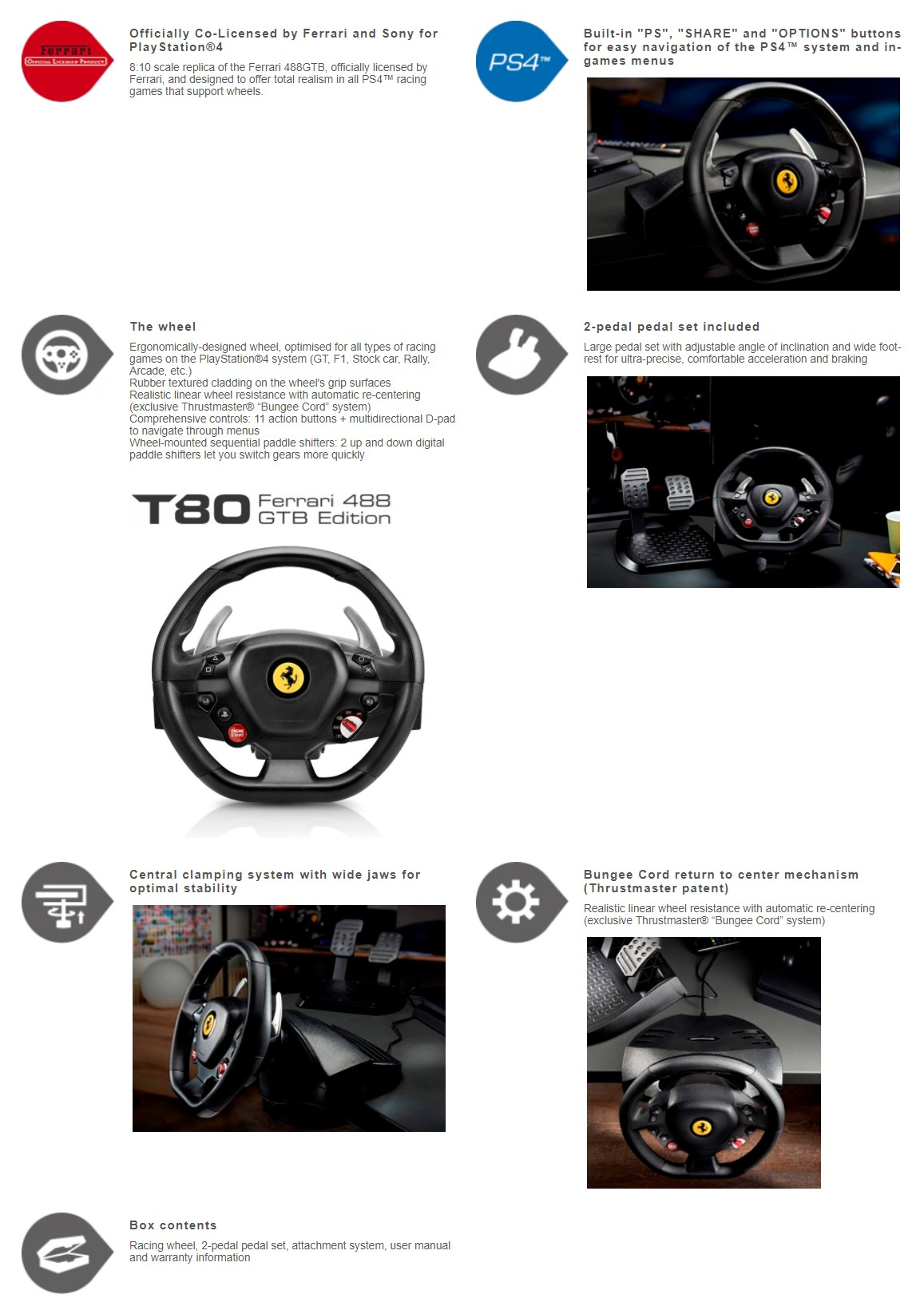 A large marketing image providing additional information about the product Thrustmaster T80 Ferrari 488 GTB Edition Racing Wheel For PC & PS4 - Additional alt info not provided