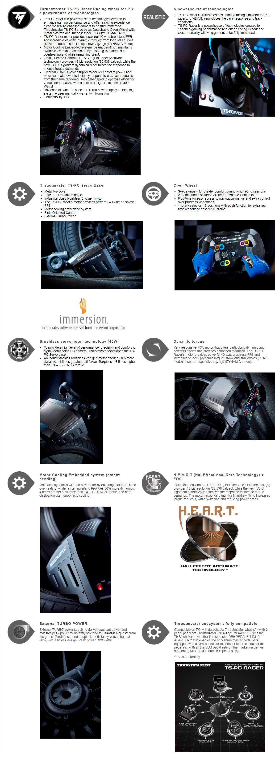 A large marketing image providing additional information about the product Thrustmaster TS-PC Racer Force Feedback Racing Wheel For PC - Additional alt info not provided