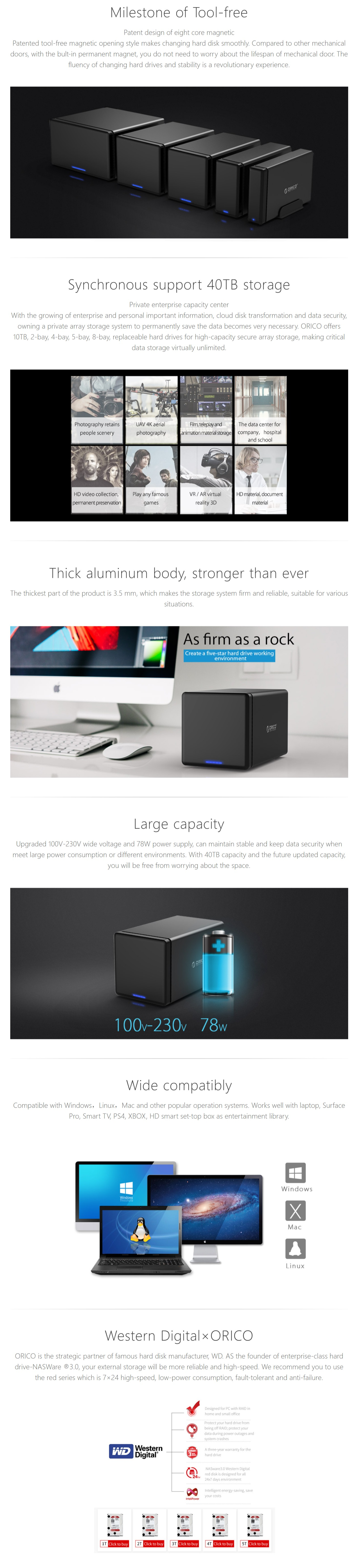 A large marketing image providing additional information about the product ORICO 4 Bay USB3.0 Hard Drive Enclosure - Additional alt info not provided