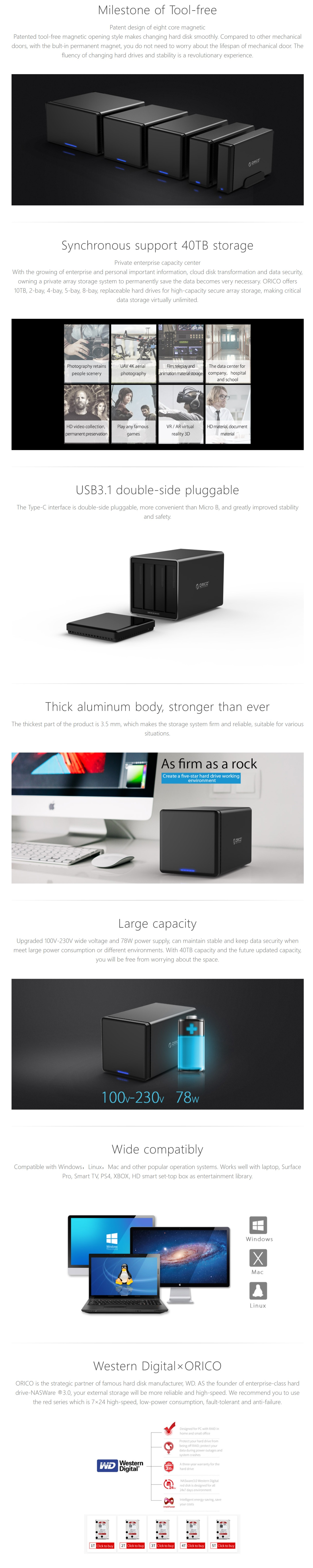 A large marketing image providing additional information about the product ORICO 4 Bay Type-C Hard Drive Enclosure - Additional alt info not provided