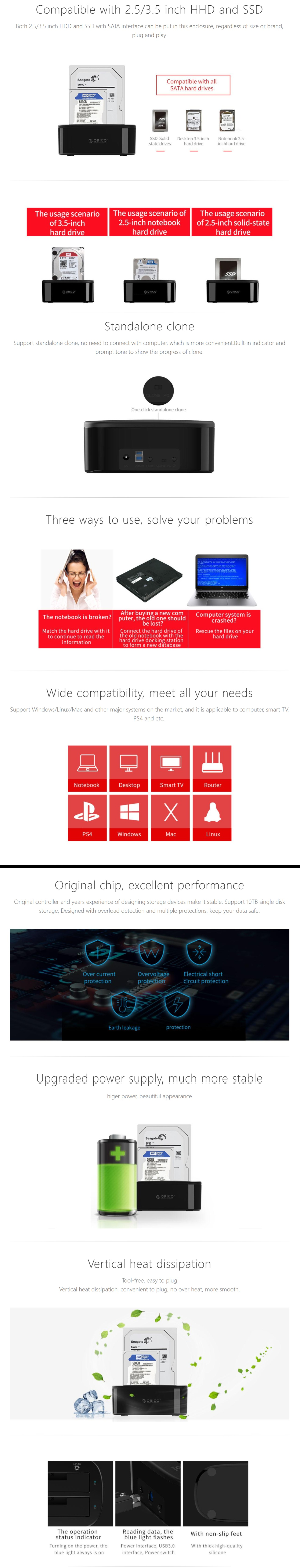 A large marketing image providing additional information about the product ORICO 2.5/3.5in USB3.0 1 to 1 Clone Dual-bay HDD and SSD Hard Drive Dock - Additional alt info not provided