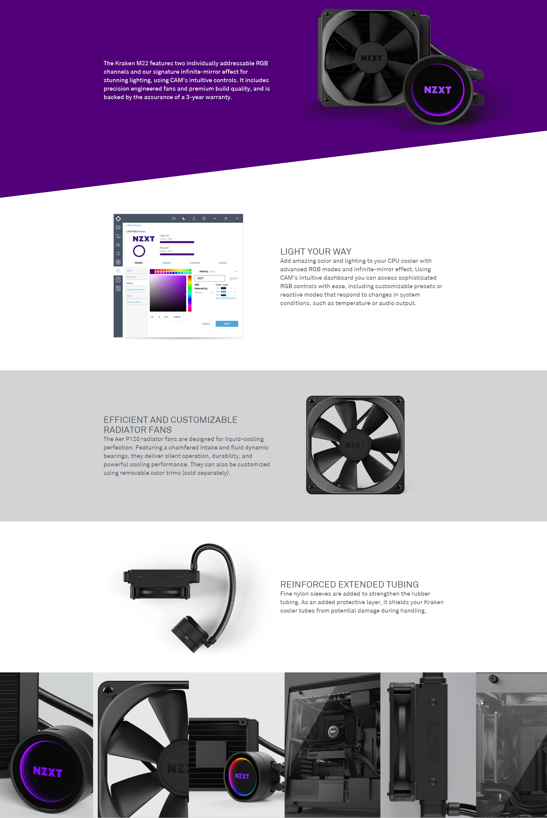 A large marketing image providing additional information about the product NZXT Kraken M22 120mm AIO Liquid CPU Cooler - Additional alt info not provided