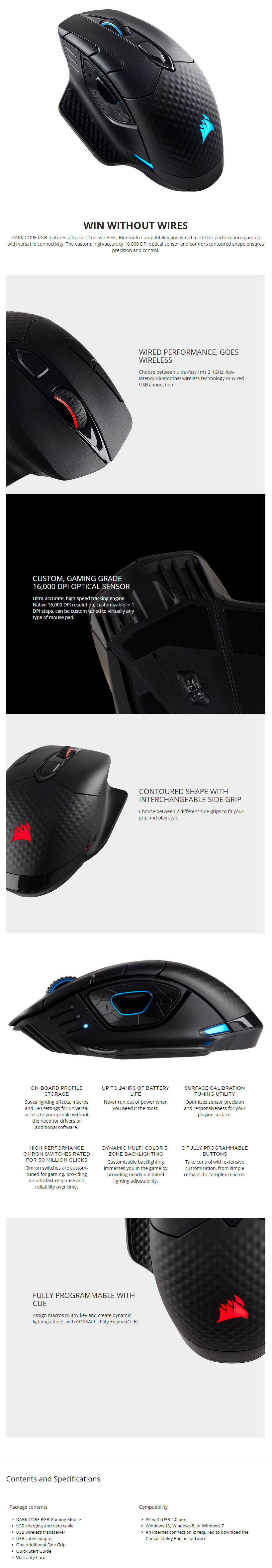 A large marketing image providing additional information about the product Corsair Gaming Dark Core RGB Wireless Optical Gaming Mouse - Additional alt info not provided