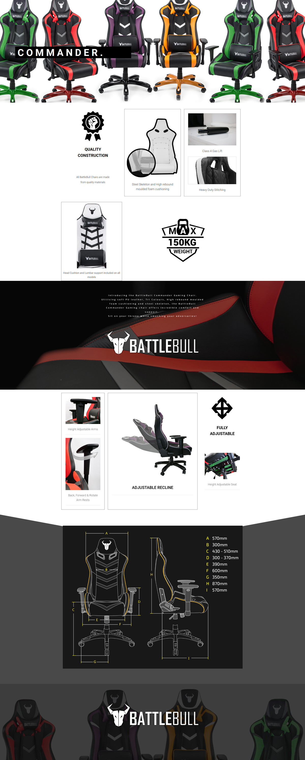 A large marketing image providing additional information about the product BattleBull Commander Gaming Chair Black/Orange/White - Additional alt info not provided