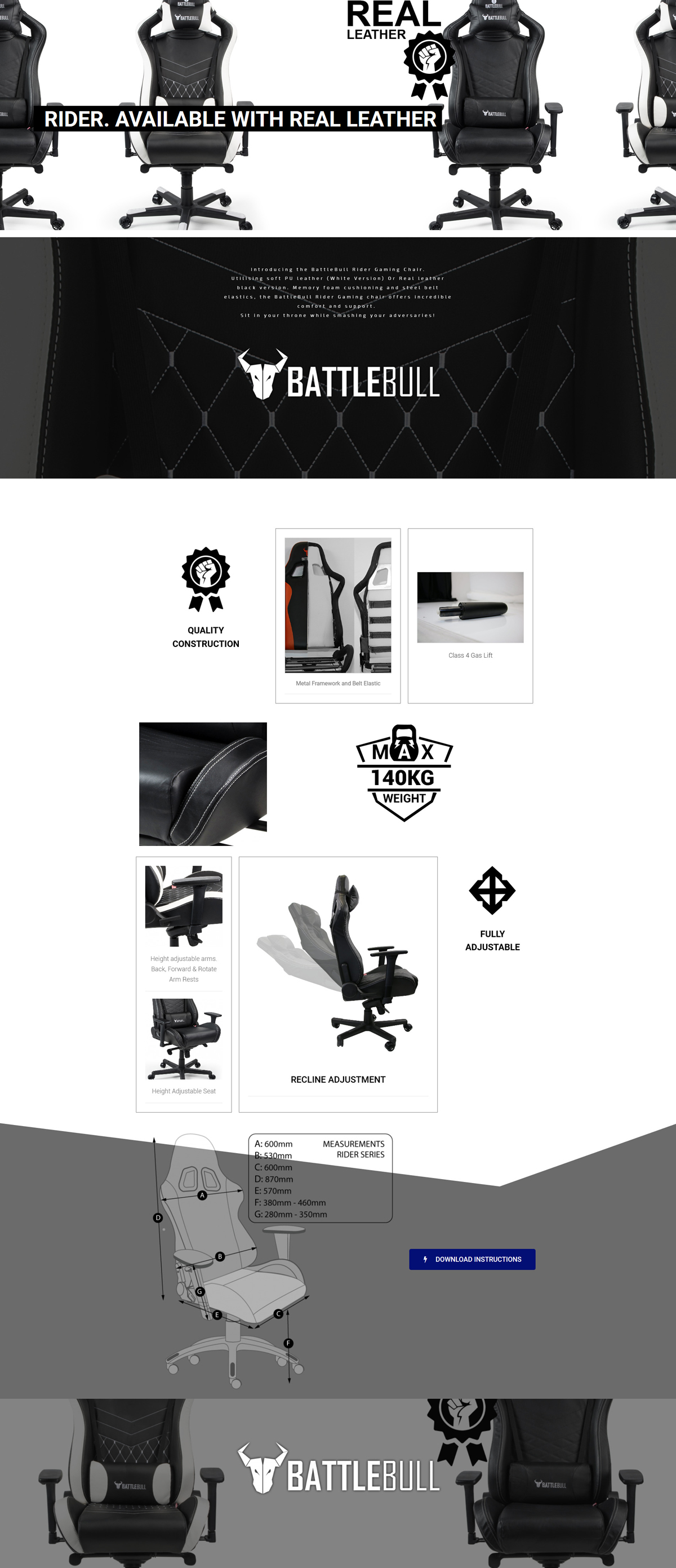 A large marketing image providing additional information about the product BattleBull Rider Gaming Chair Black Leather - Additional alt info not provided