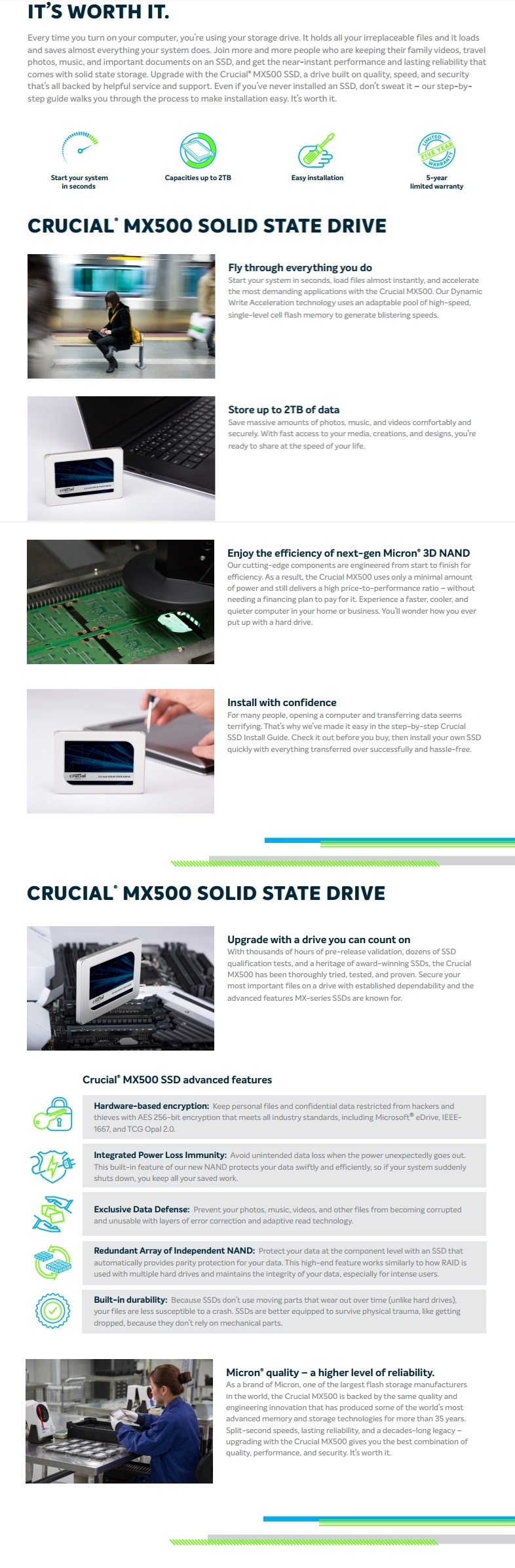 """A large marketing image providing additional information about the product Crucial MX500 250GB SATA 2.5"""" 7mm SSD - Additional alt info not provided"""