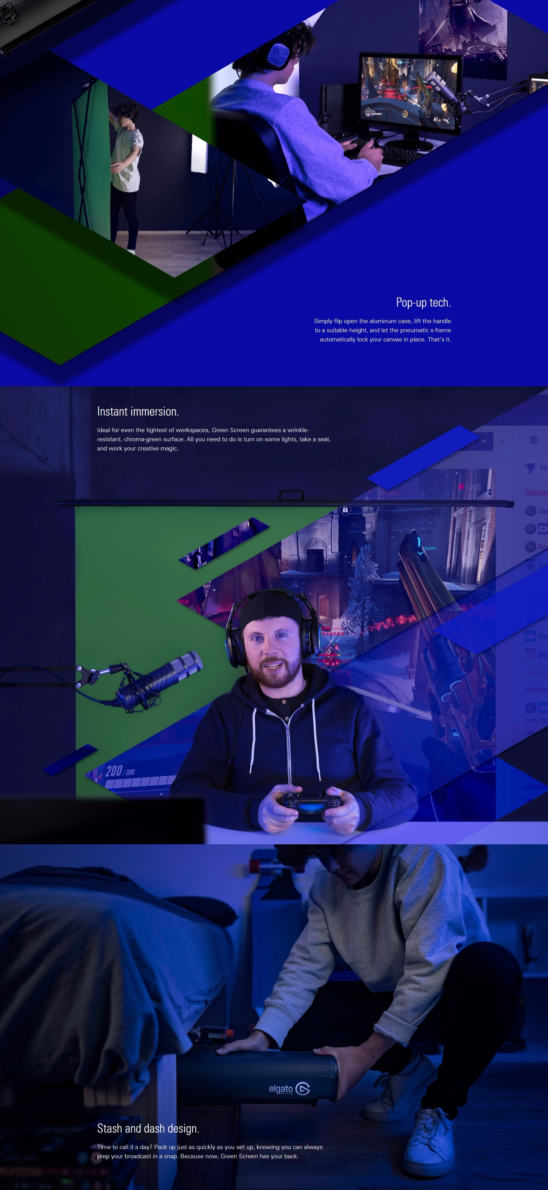 A large marketing image providing additional information about the product Elgato Collapsible Green Screen  - Additional alt info not provided