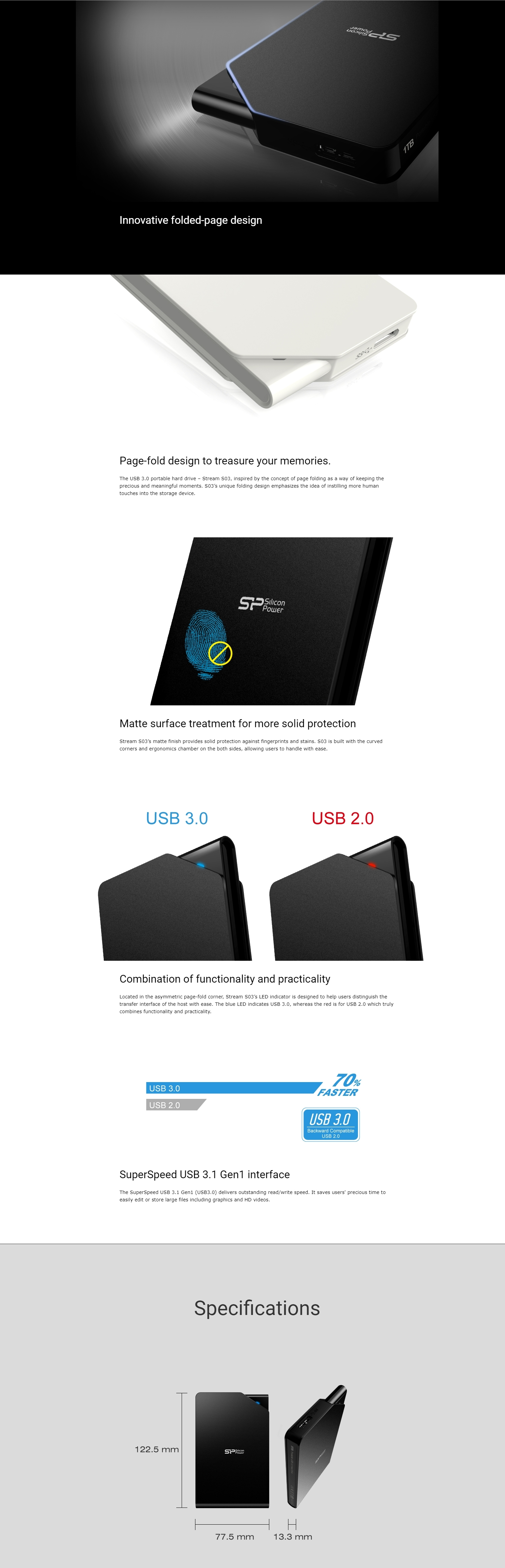 A large marketing image providing additional information about the product Silicon Power Stream S03 1TB USB3.0 External Hard Drive  - Additional alt info not provided