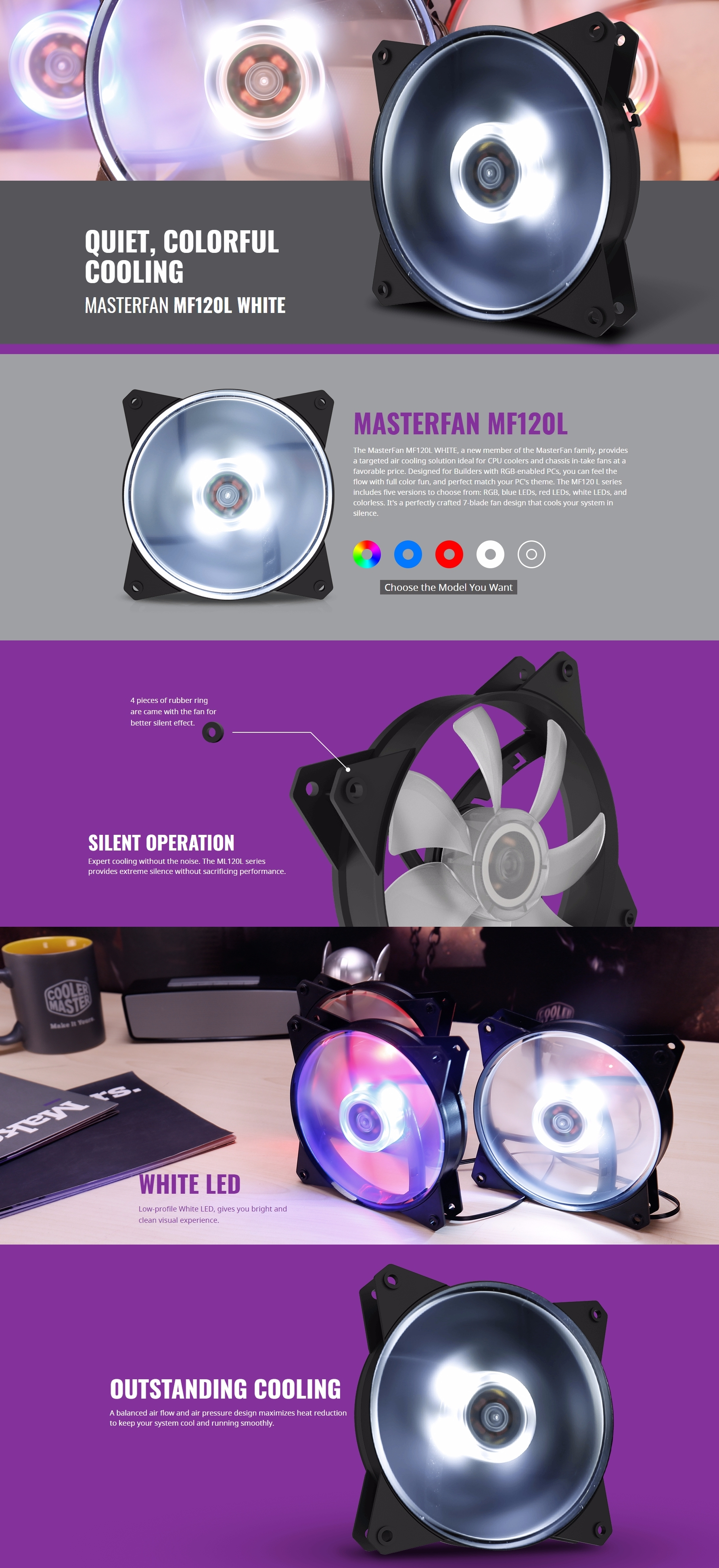 A large marketing image providing additional information about the product Cooler Master MasterFan Lite MF120L 120mm White LED Fan - Additional alt info not provided