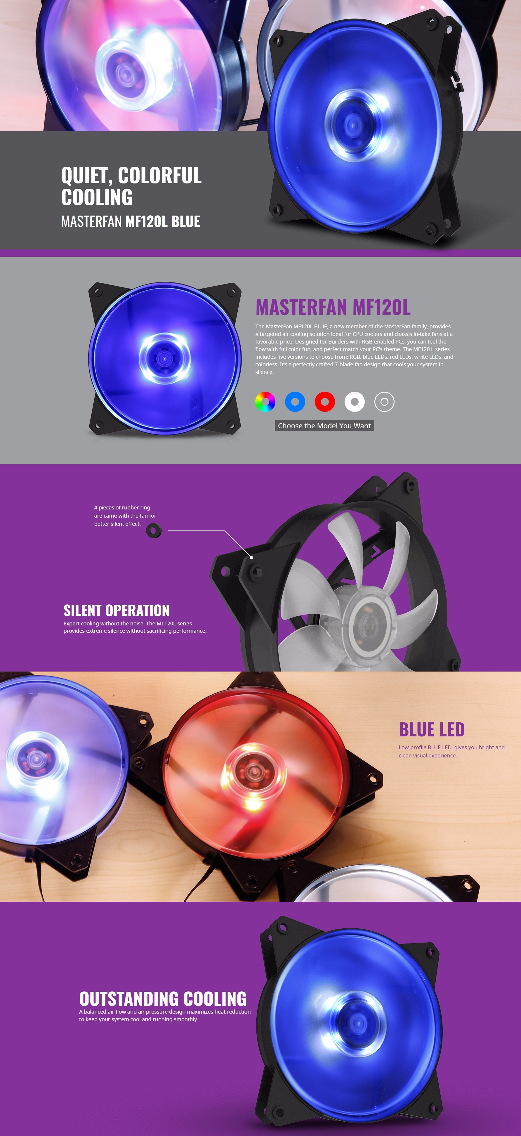 A large marketing image providing additional information about the product Cooler Master MasterFan Lite MF120L 120mm Blue LED Fan - Additional alt info not provided