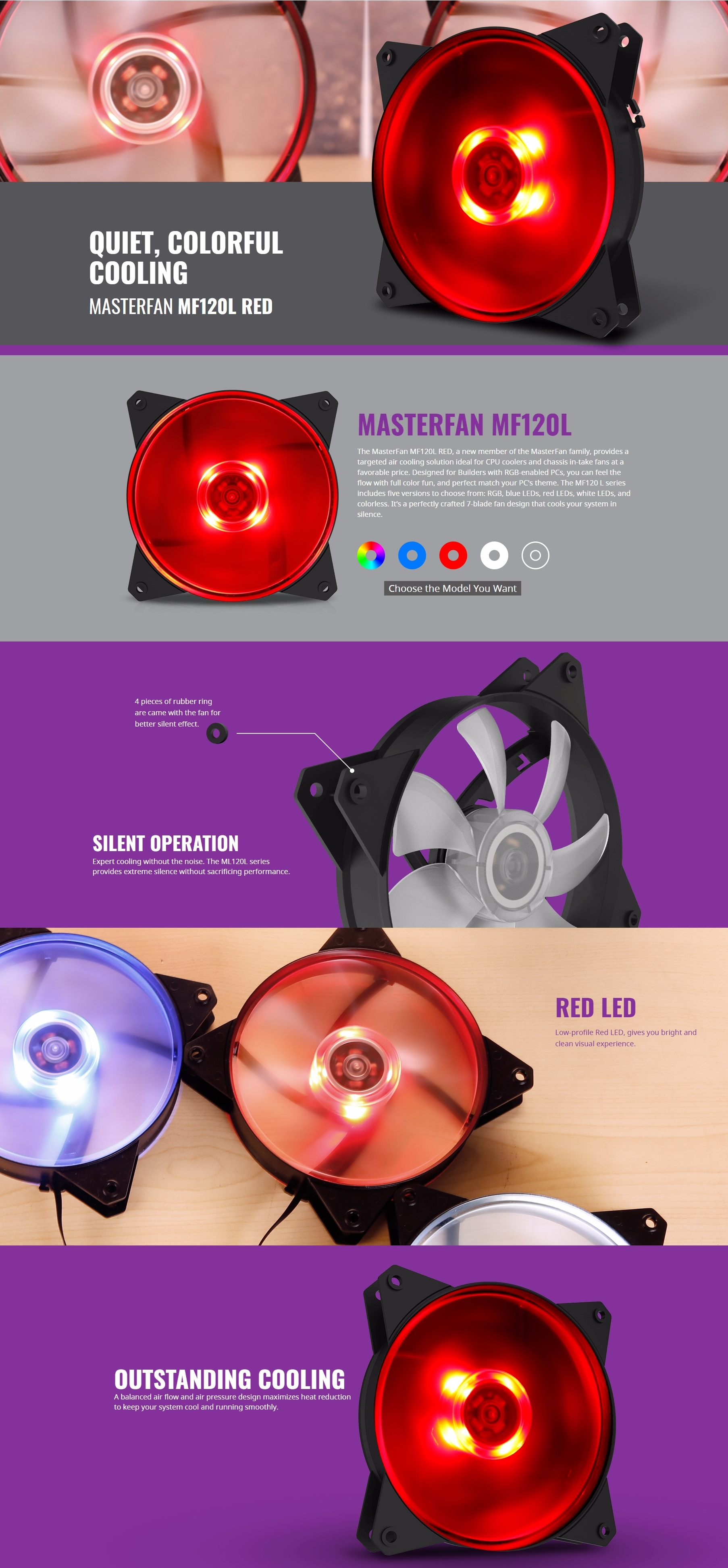 A large marketing image providing additional information about the product Cooler Master MasterFan Lite MF120L 120mm Red LED Fan - Additional alt info not provided
