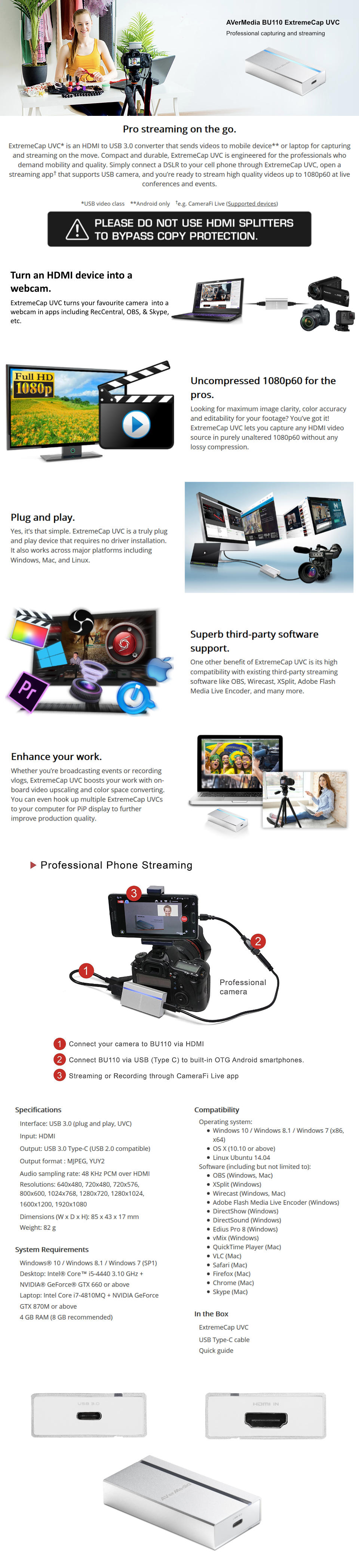 A large marketing image providing additional information about the product AVerMedia BU110 ExtremeCap HDMI to USB Converter - Additional alt info not provided