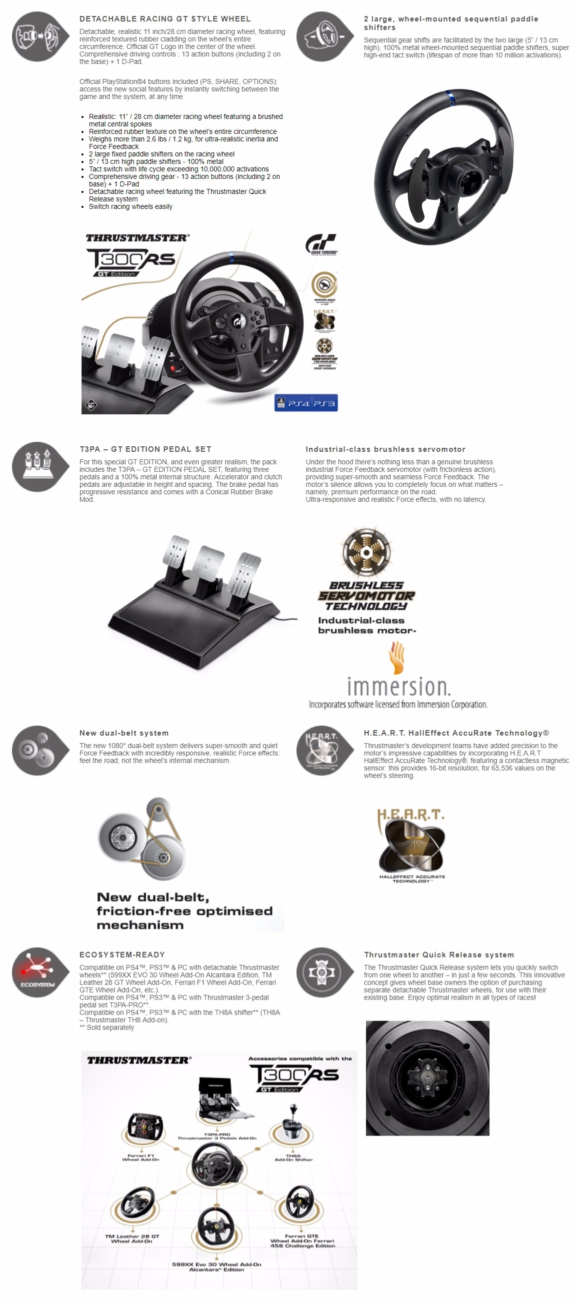 A large marketing image providing additional information about the product Thrustmaster T300 RS GT Edition Force Feedback Racing Wheel For PC, PS3 & PS4 - Additional alt info not provided