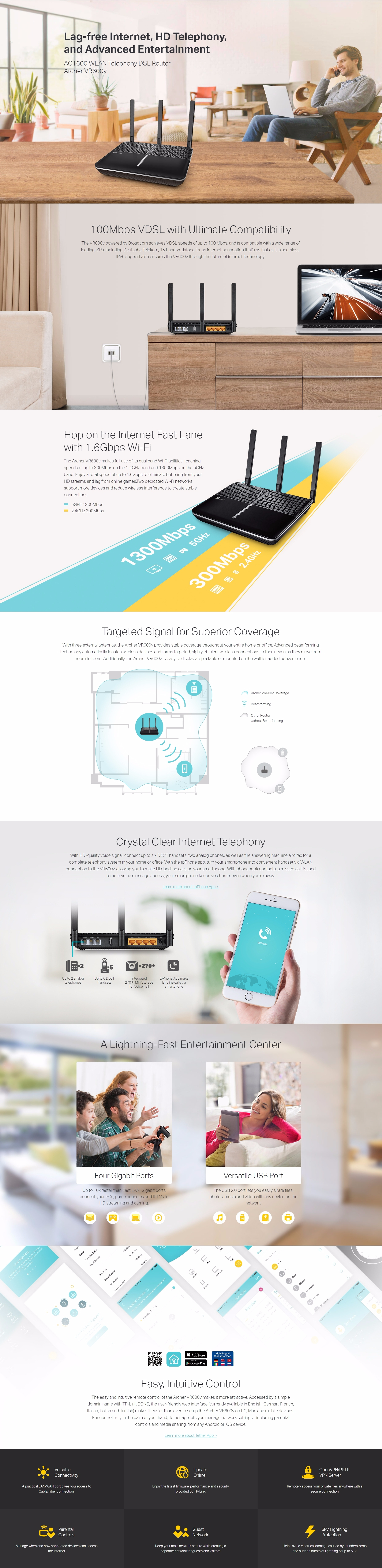 A large marketing image providing additional information about the product TP-LINK Archer VR600v AC1600 Wireless Dual Band VoIP VDSL/ADSL Modem Router - Additional alt info not provided