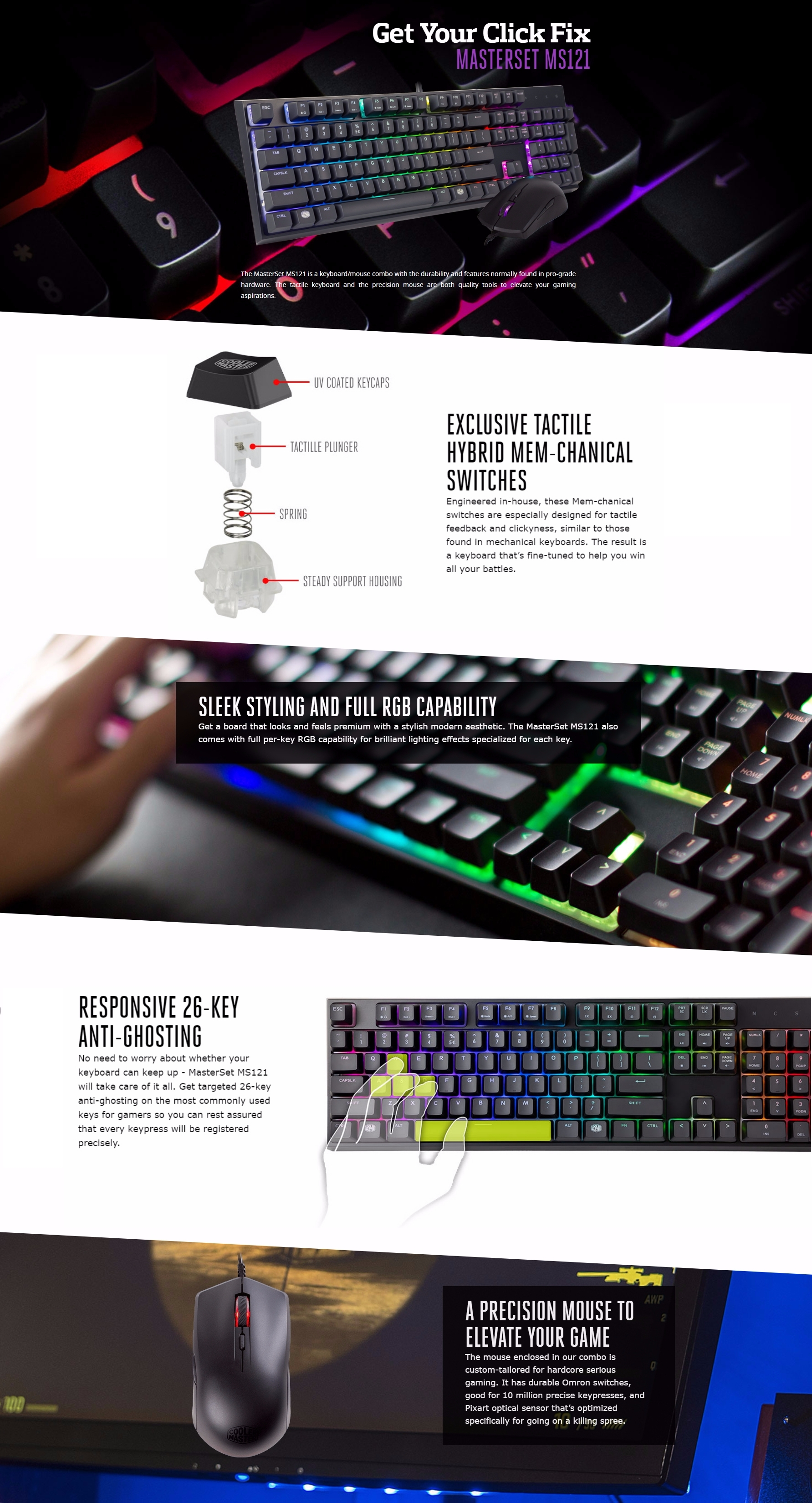 A large marketing image providing additional information about the product Cooler Master MasterSet MS121 Independent-RGB Keyboard/Mouse Combo Kit - Additional alt info not provided