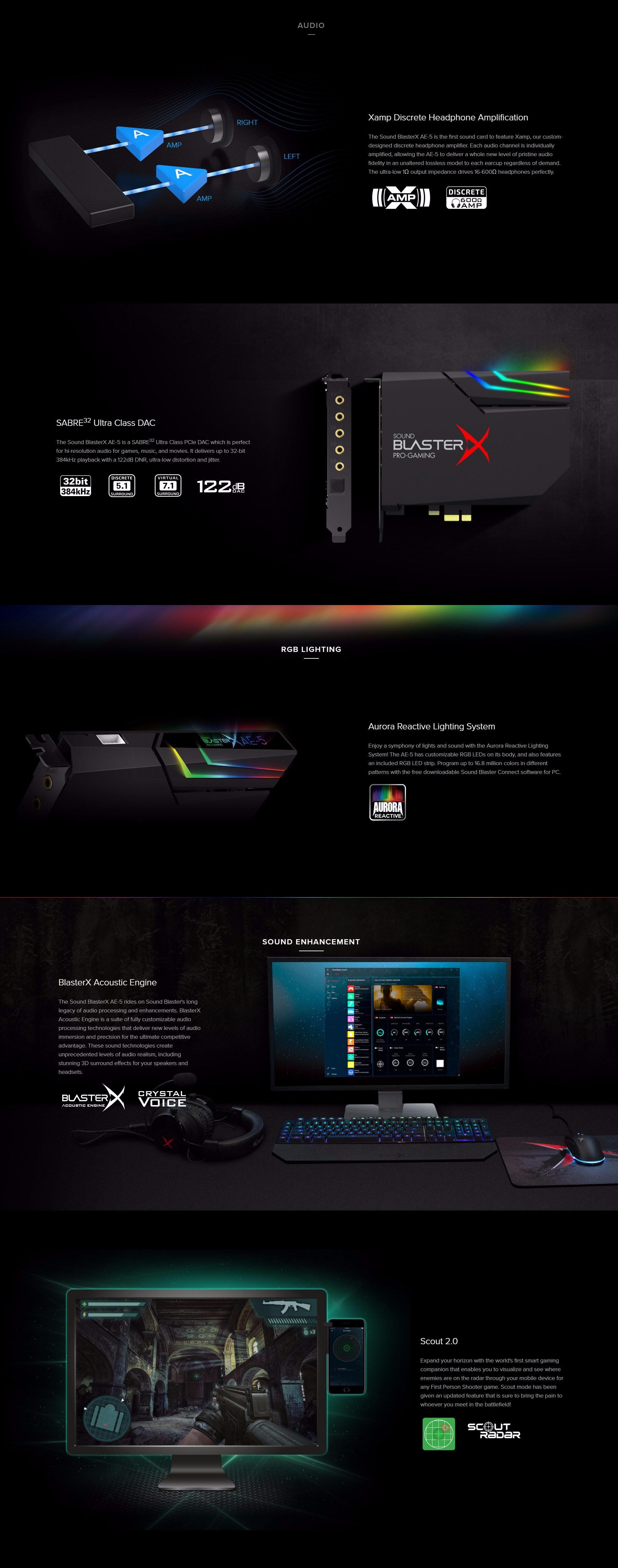 A large marketing image providing additional information about the product Creative Sound BlasterX AE-5 Hi-Res 5.1 Gaming Sound Card  - Additional alt info not provided